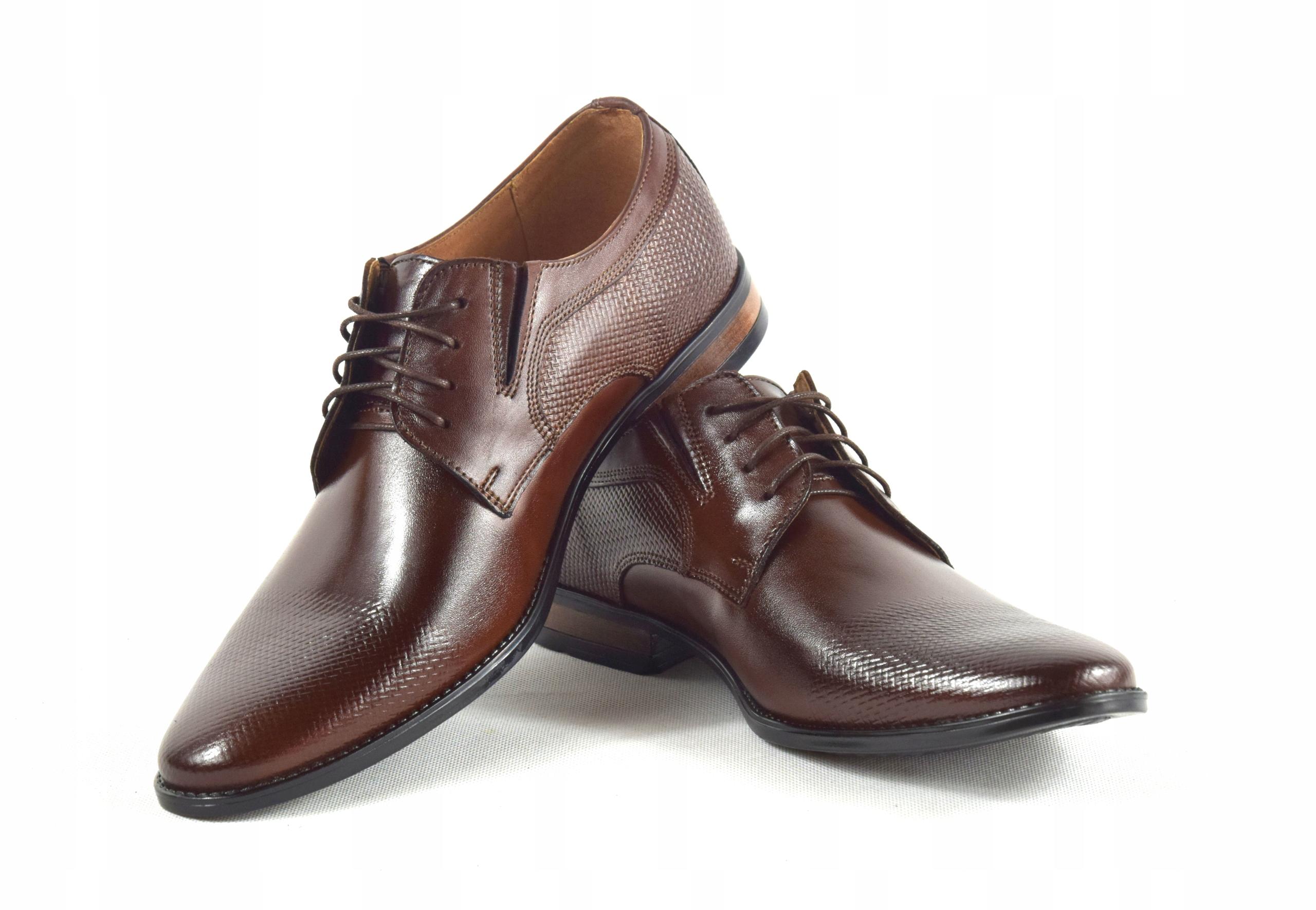 Buty męskie wizytowe skórzane brązowe obuwie 359/1 Kolor brązowy czerwony