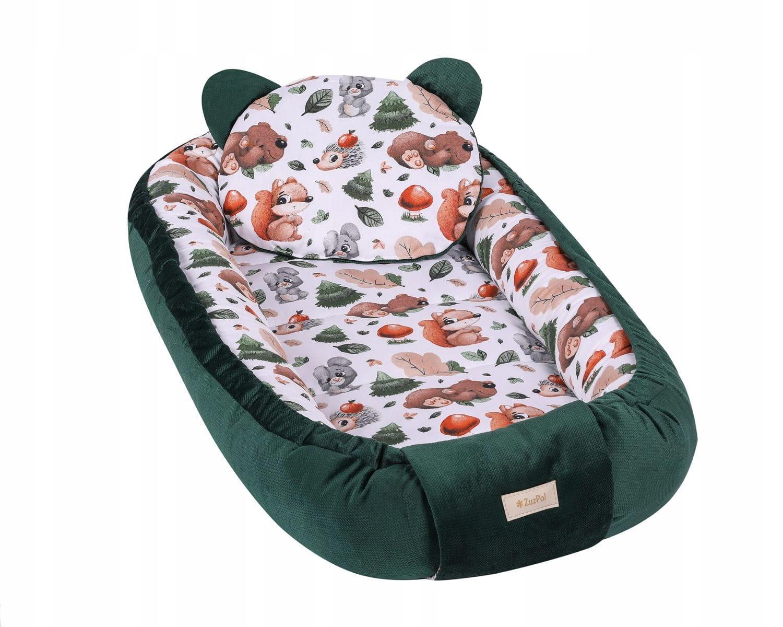 Большой детский кокон с подушкой, бутылочно-зеленый