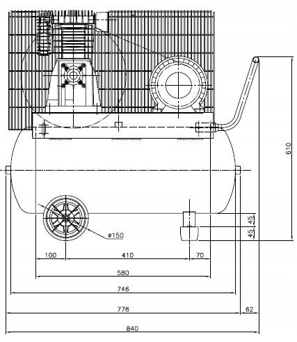 SPRĘŻARKA KOMPRESOR 90L ATLAS COPCO AC 21 E 100 M Układ zbiornika poziomy