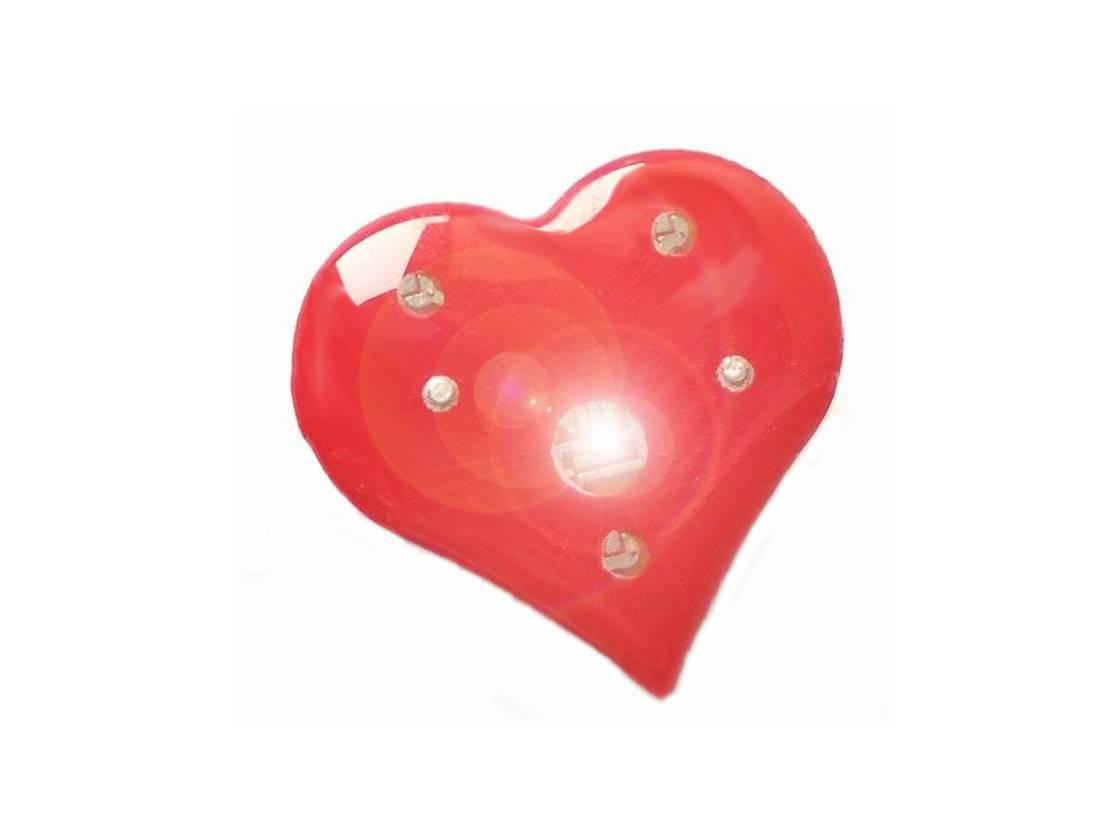 Serce świecące LED 2,5 x 2,5 cm przypinka walentyn