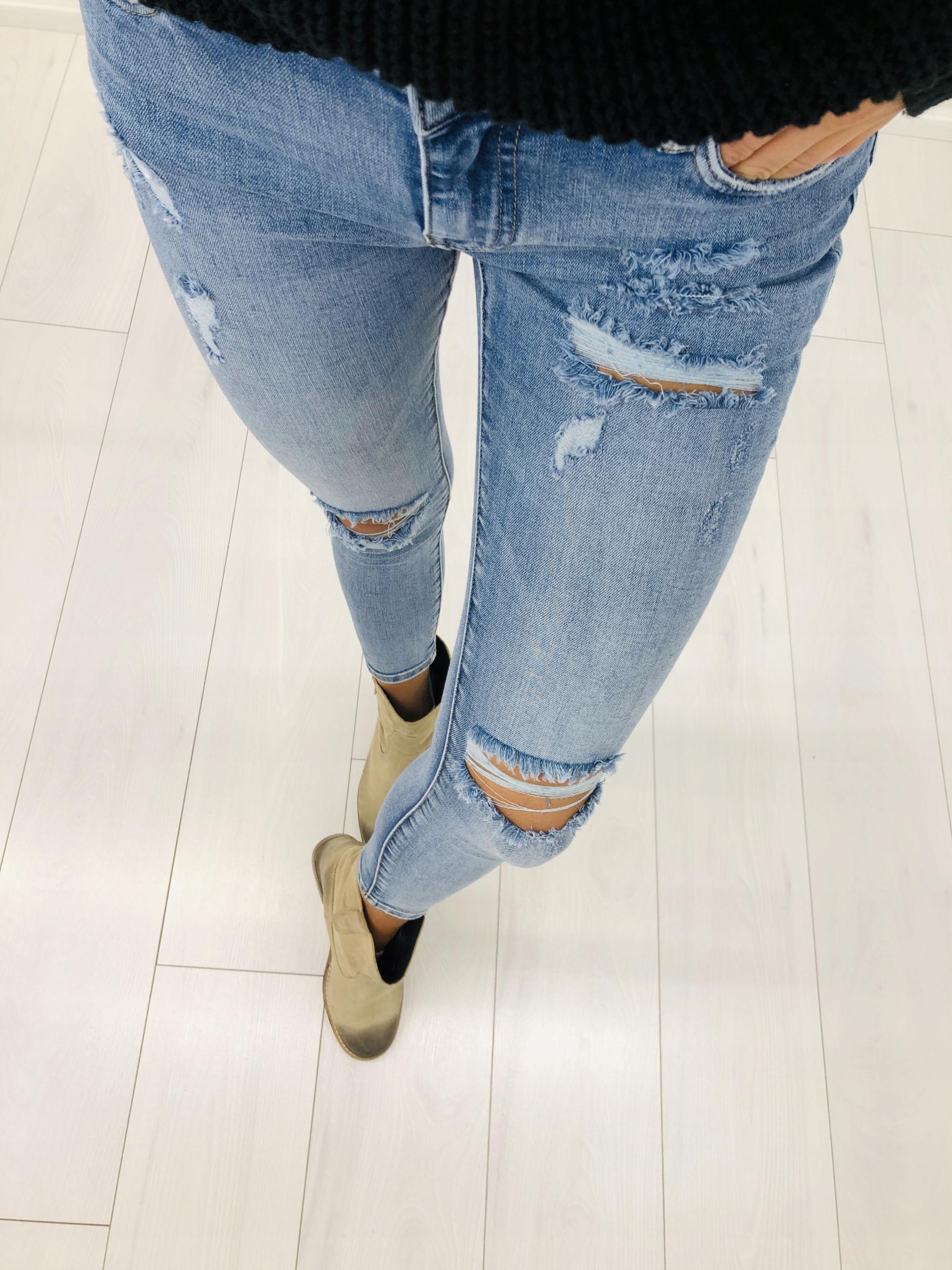 dżinsowe spodnie z przetarciami XL Niebieski