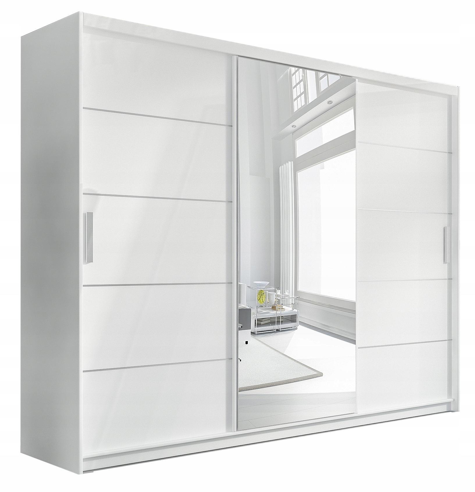 Большой шкаф-купе с зеркалом и ящиками Белый