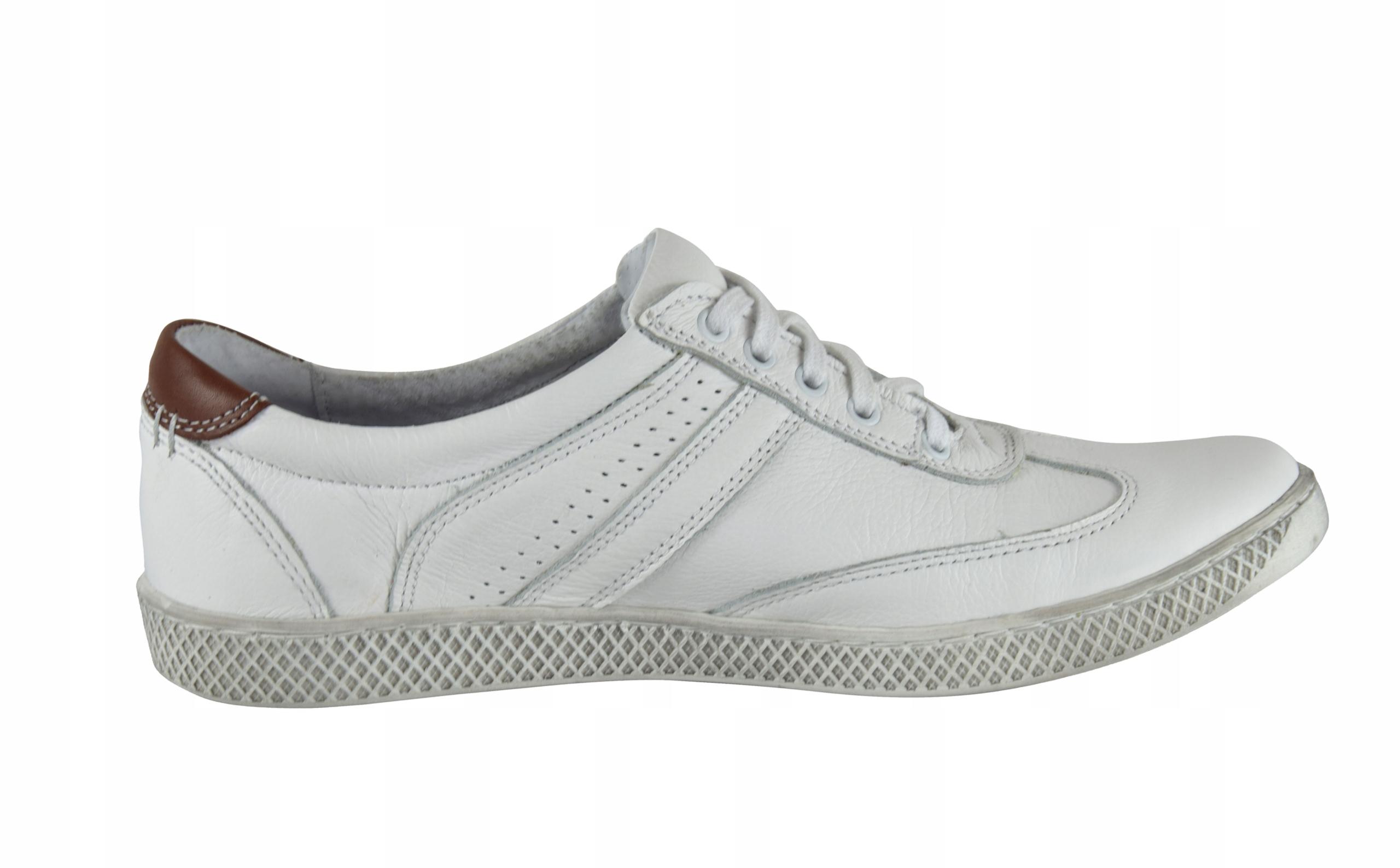Skórzane męskie białe sznurowane buty męskie 0446 Marka inna