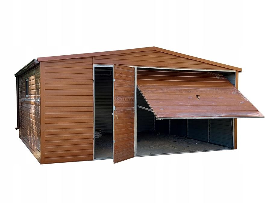 Garaż blaszany drewnopodobny 5x5 brama z automatem