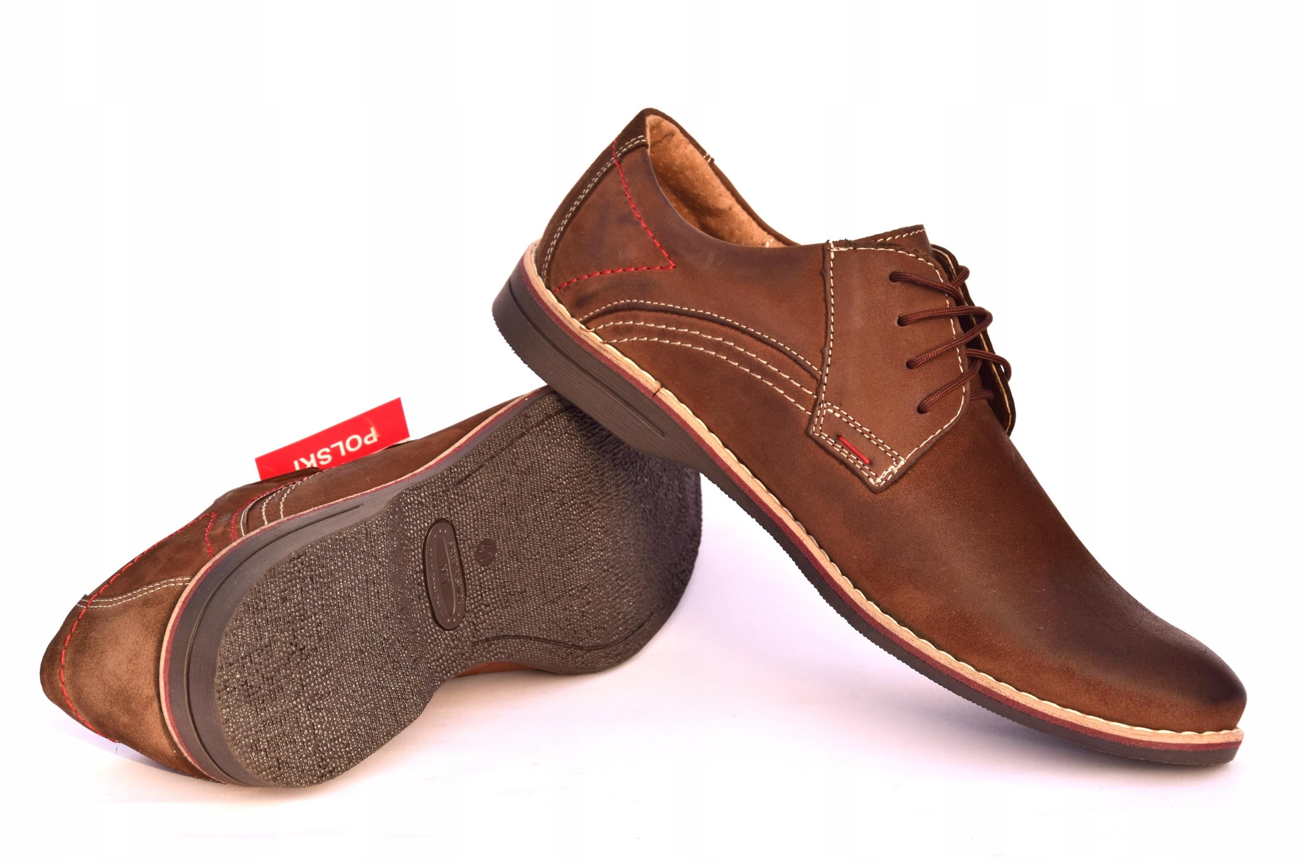 Buty męskie brązowe obuwie skórzane polskie 242 Materiał zewnętrzny skóra naturalna