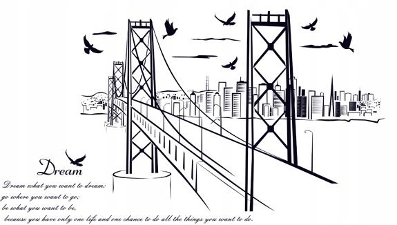 Наклейка на стену CITY, MOST BIRDS 130X72