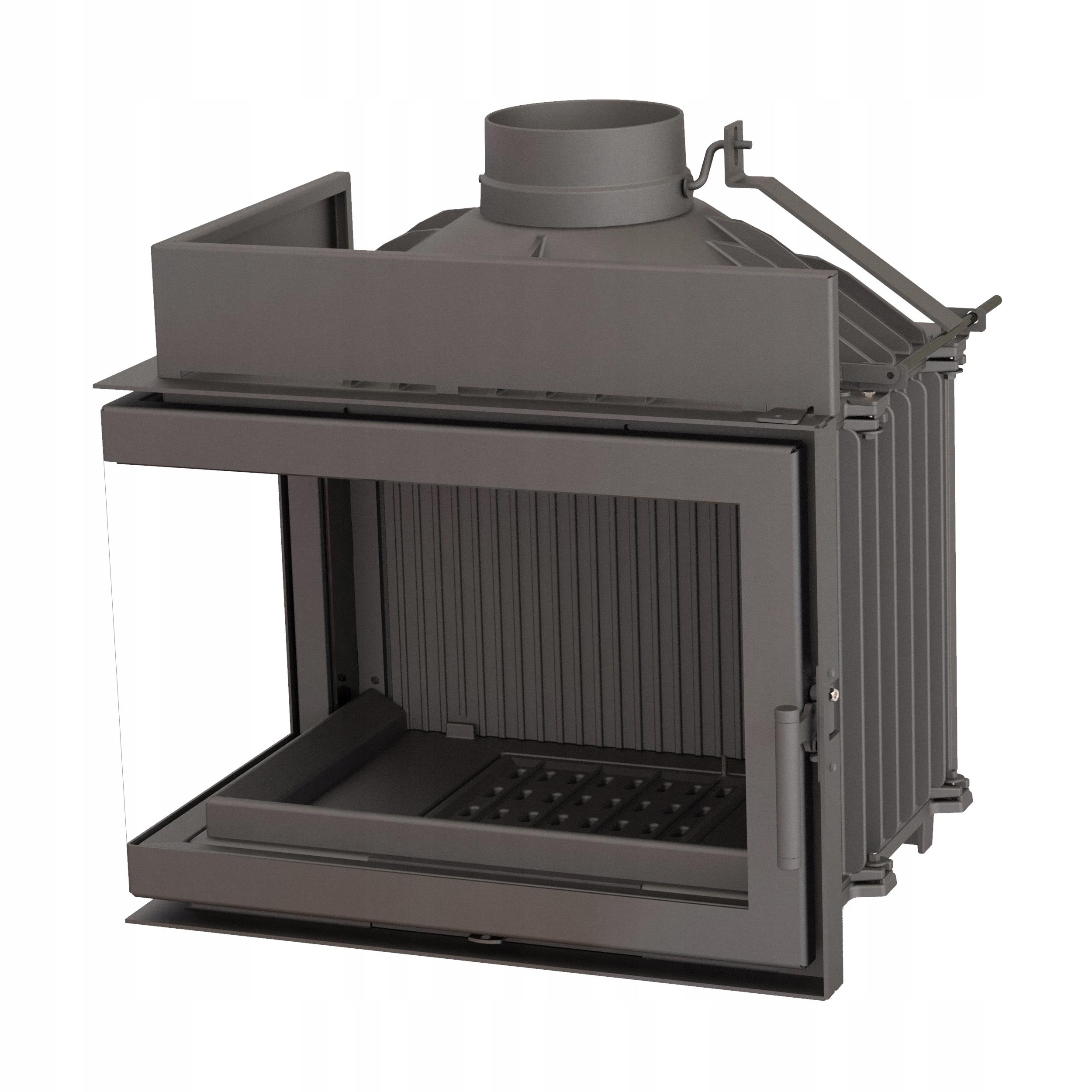 Rohový krb LAU-PRO + potrubná súprava + lavička