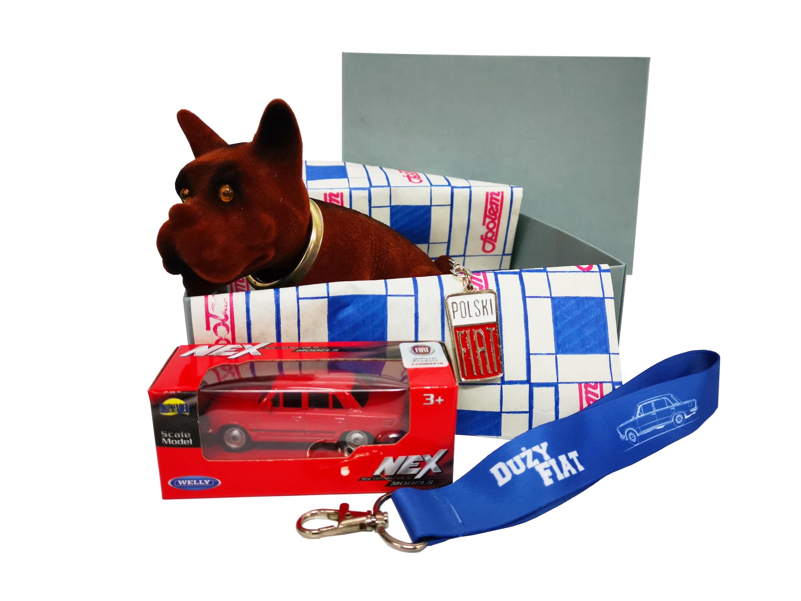Retro BOX darček FIAT 125p pes + vychytávky