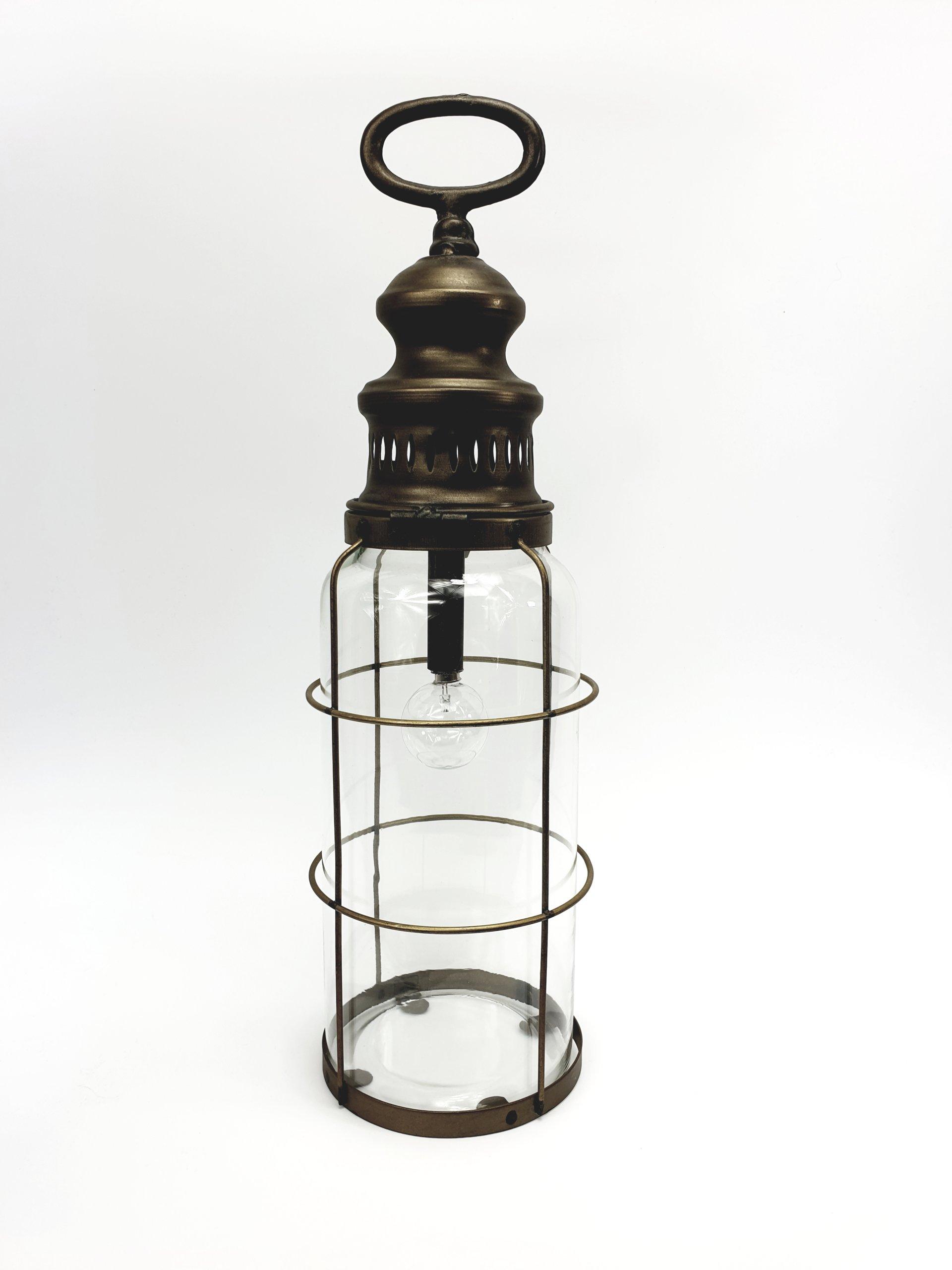 Svietidlo so žiarovkou, mosadz, retro štýl, 43 cm