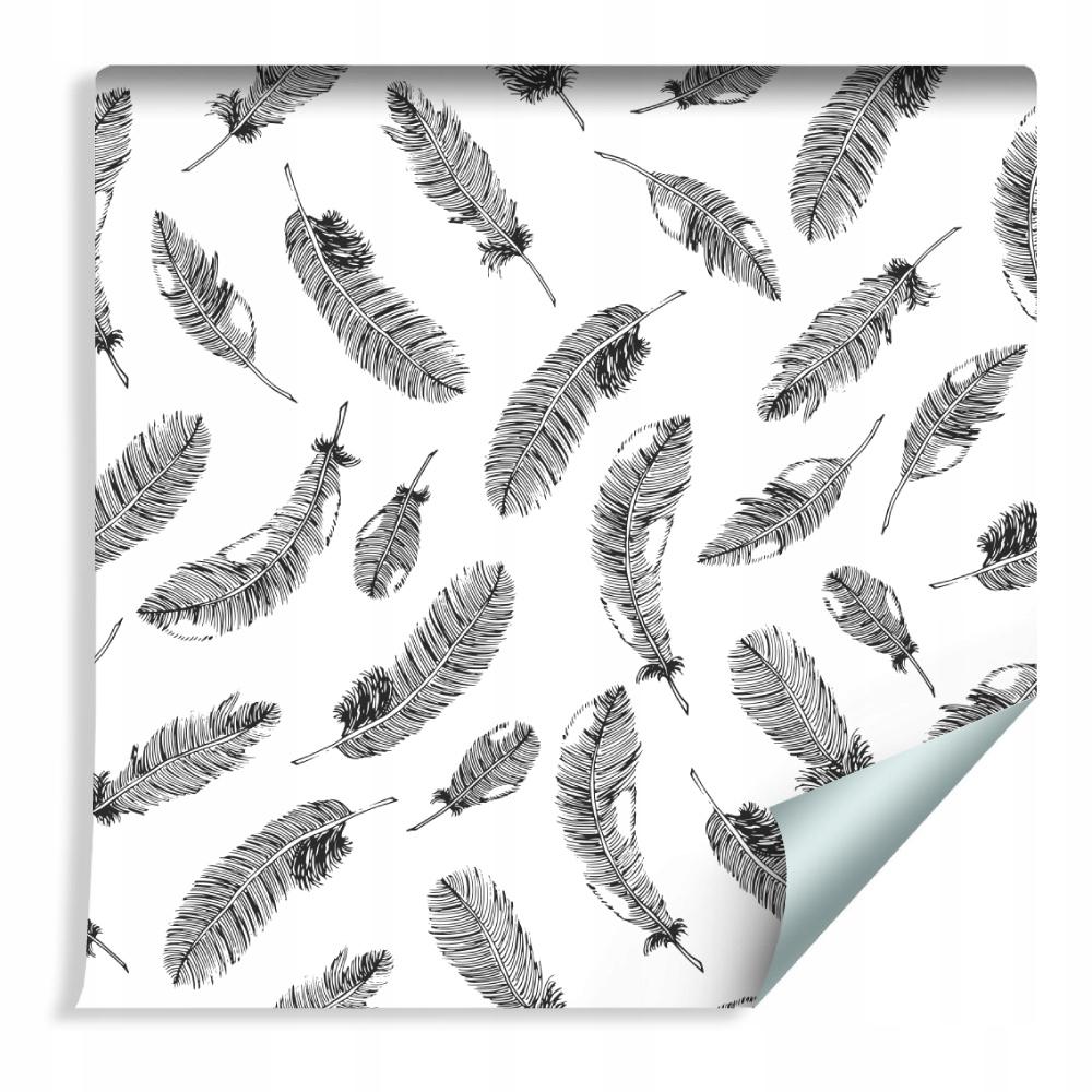 10m Retro TAPETA - Čierne perie na bielom