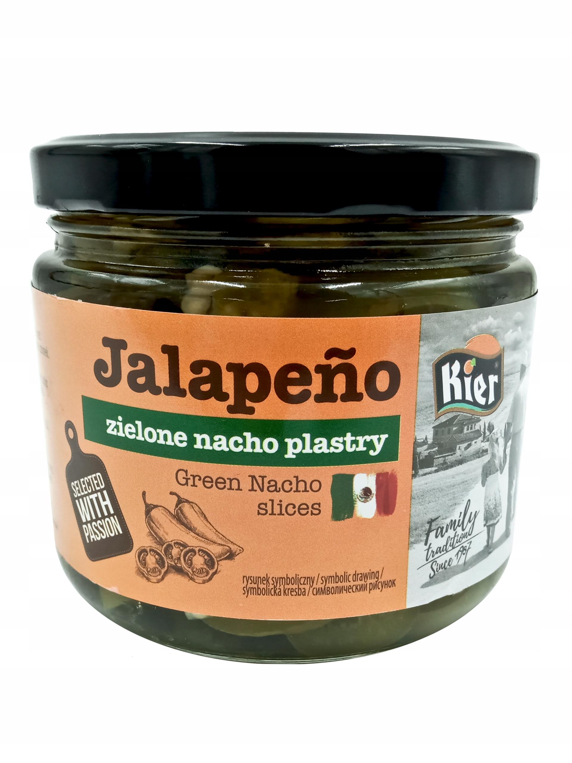 Papryka ZIELONA JALAPENO nacho PLASTRY 320g kier