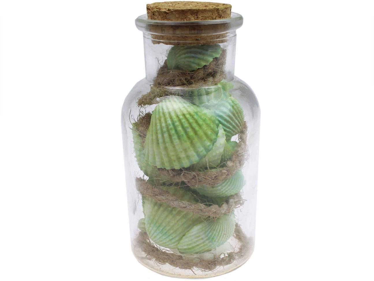 Dekoratívne škrupiny vo fľaši 55G zelené škrupiny