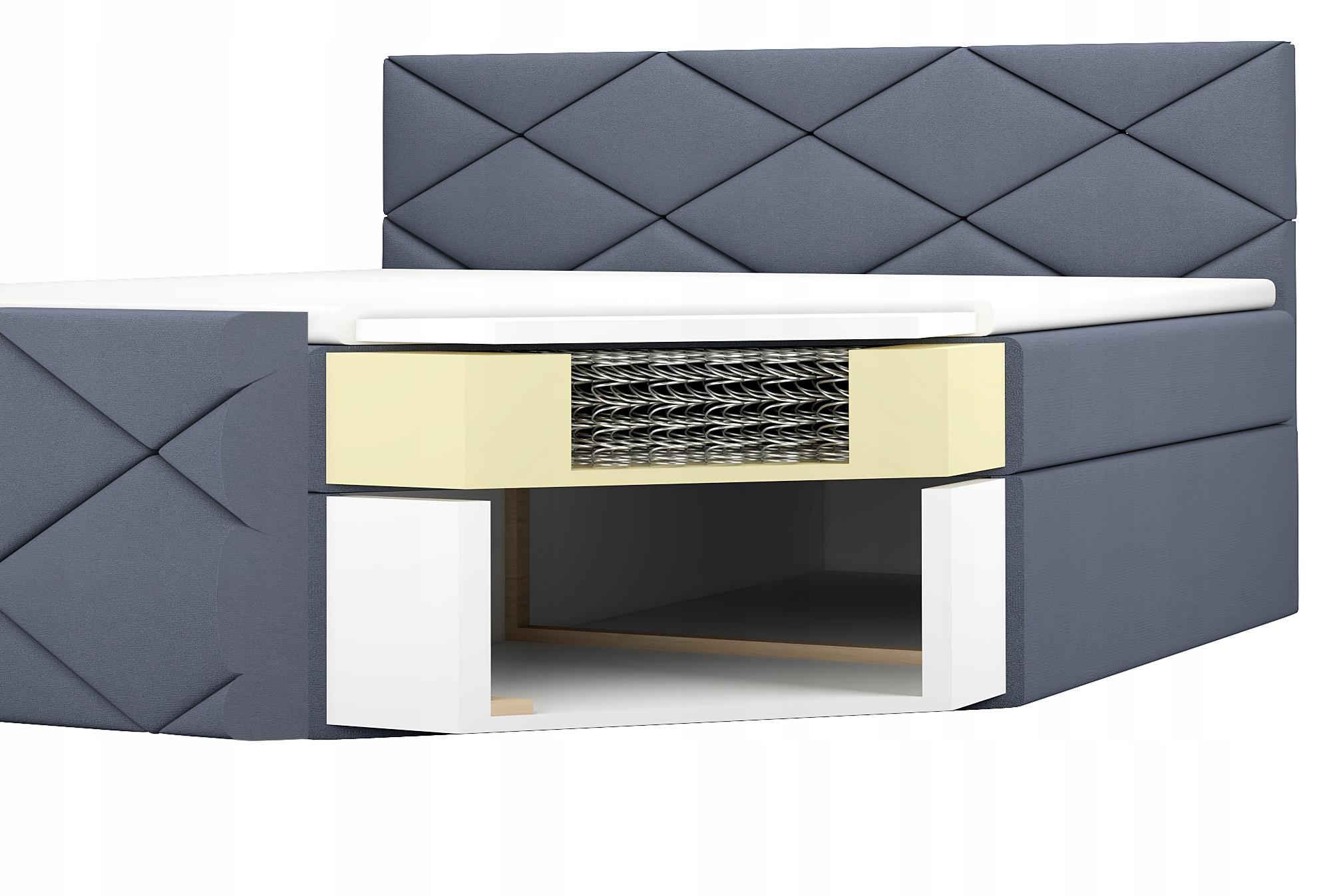 Łóżko Tapicerowane Kontynentalne LUX 120 materac Wysokość mebla 44 cm