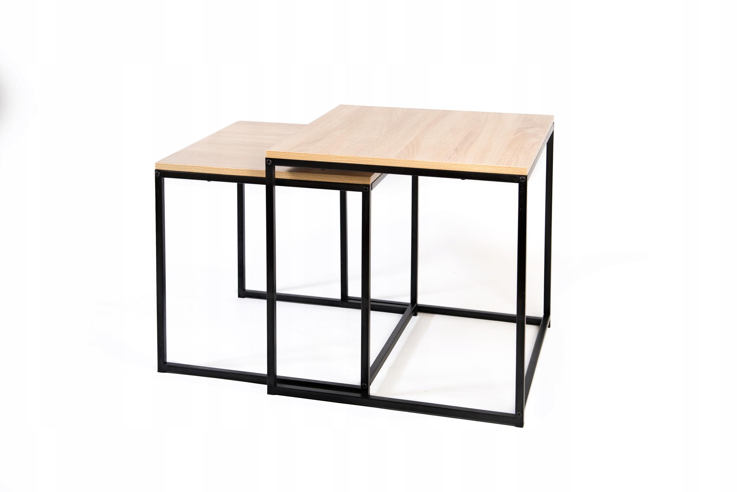 dwa stoliki ława stolik kawowy loft industrialny