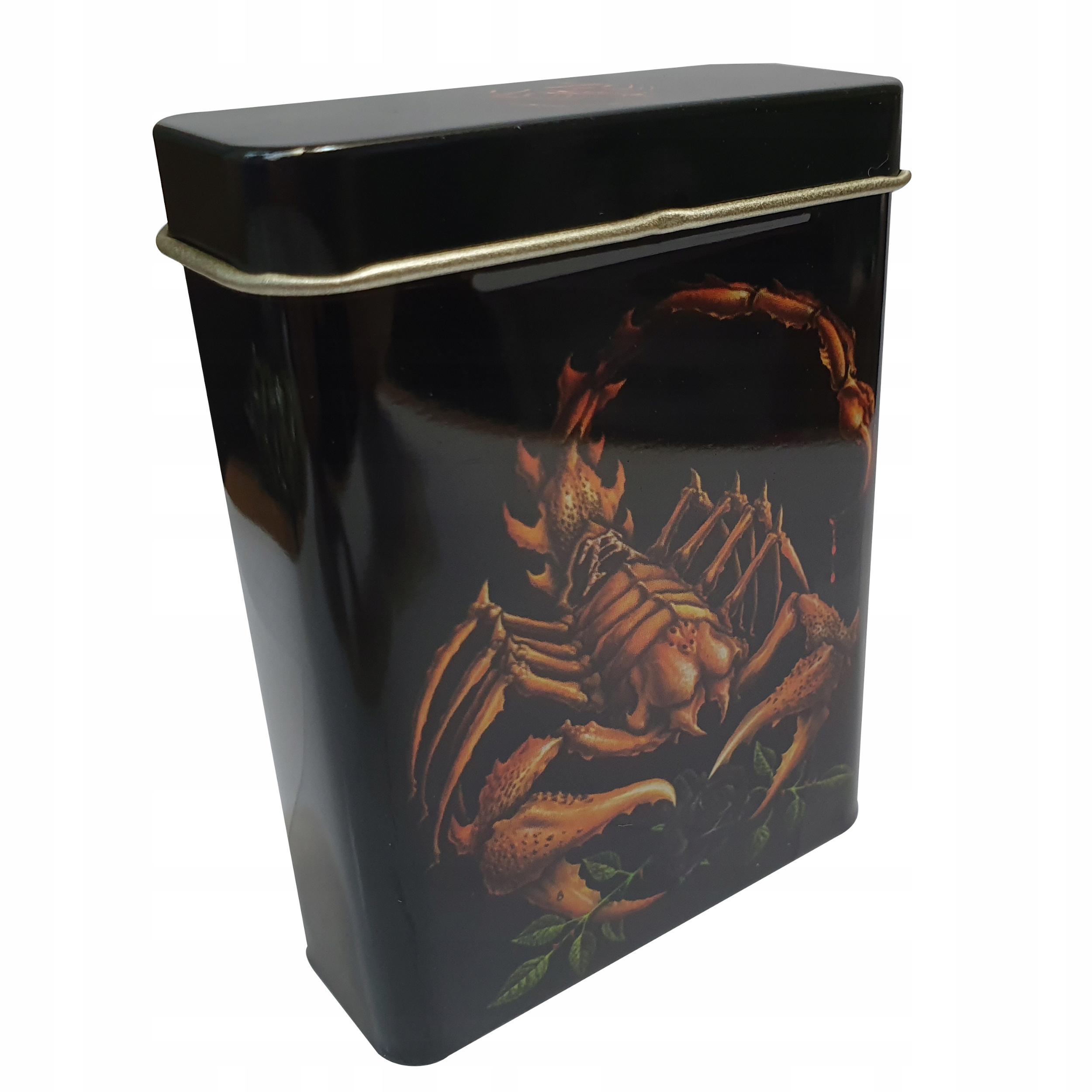 Metalowe pudełko skorpion na fajki