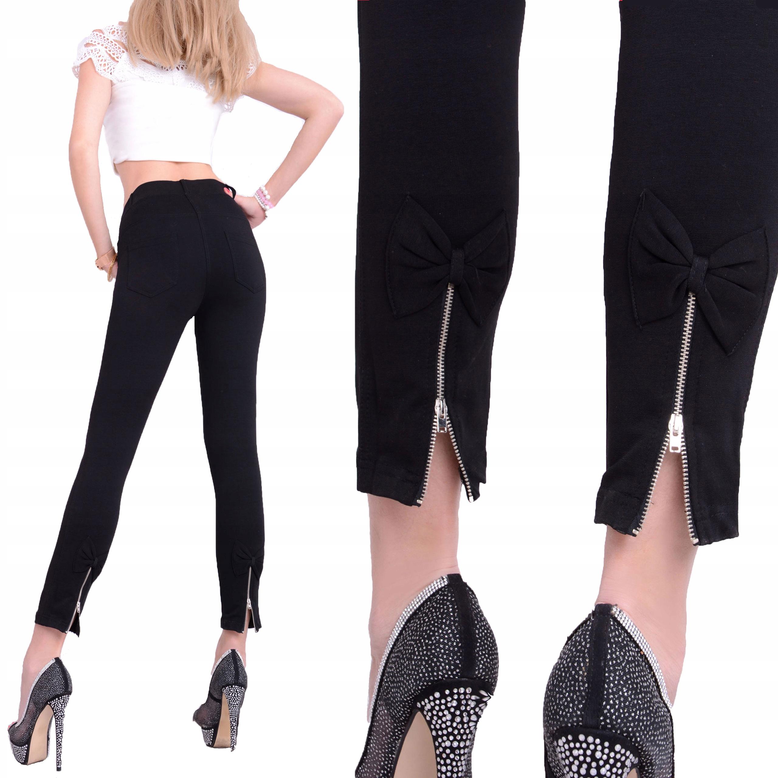 Elastyczne Czarne Spodnie Kokardki Wysoki Stan 334