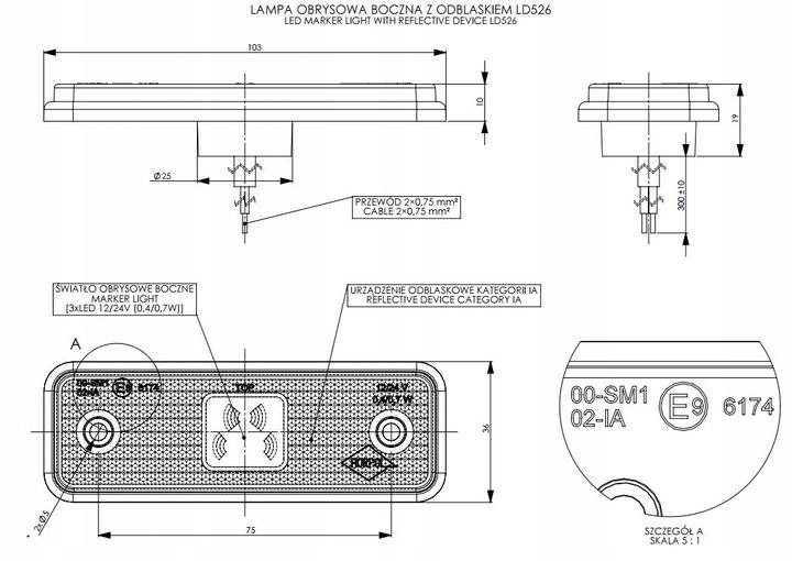 Lampa LED, obrysowa z podkładką, pozycja, LD525 Producent części Inny