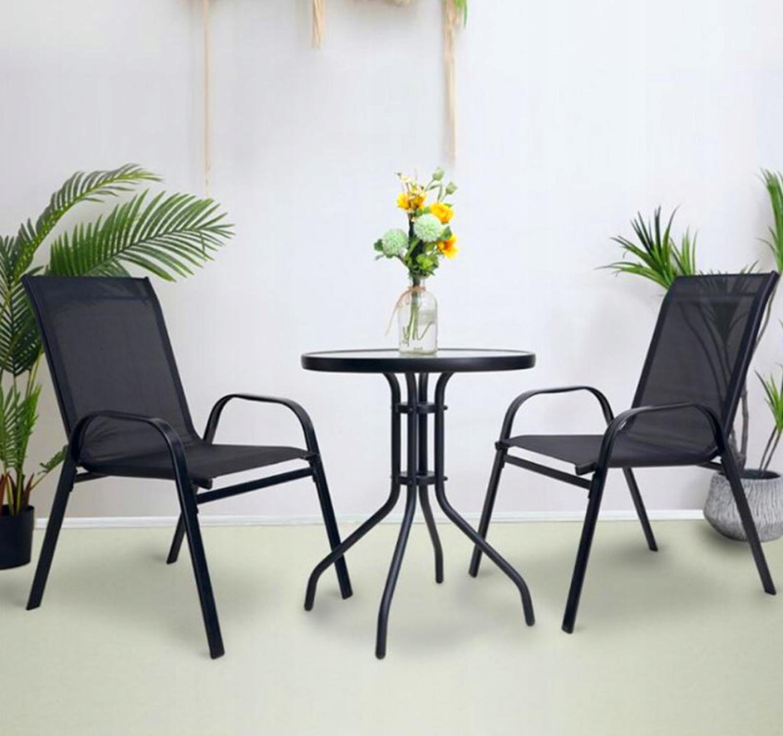 Meble na Balkon Ogród Taras Komplet Stół 2 Krzesła Linia Kawowy do Wypoczynku