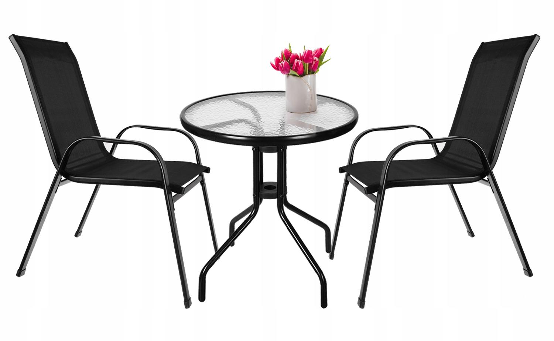 Meble na Balkon Ogród Taras Komplet Stół 2 Krzesła Zawartość zestawu fotel stolik