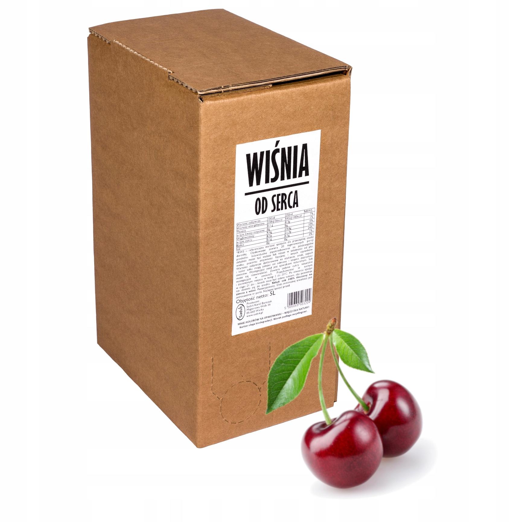 sok wiśnia wiśniowy 100% sok z wiśni 5L