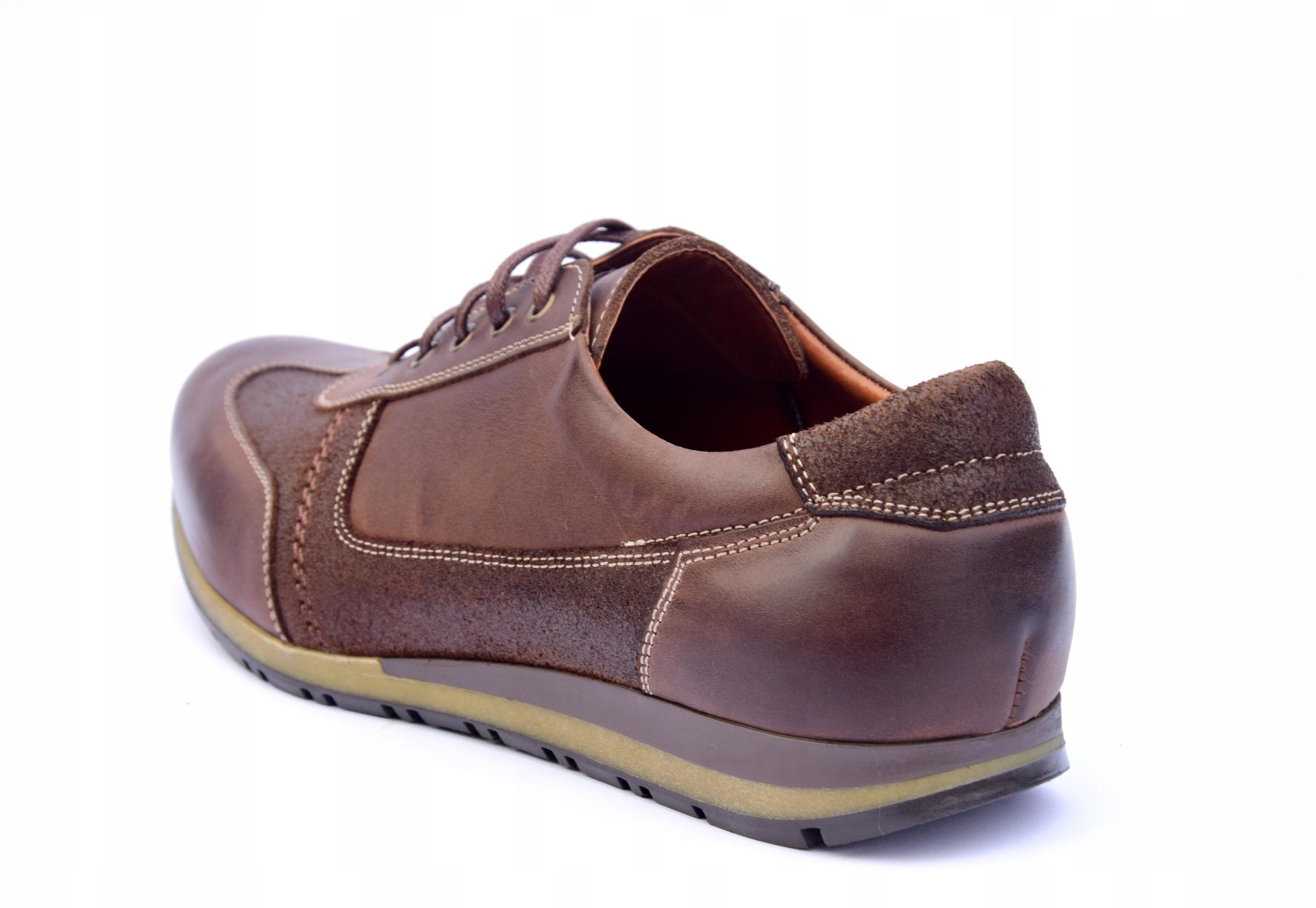 Półbuty skórzane brązowe obuwie ze skóry PL 294 Długość wkładki 29.5 cm