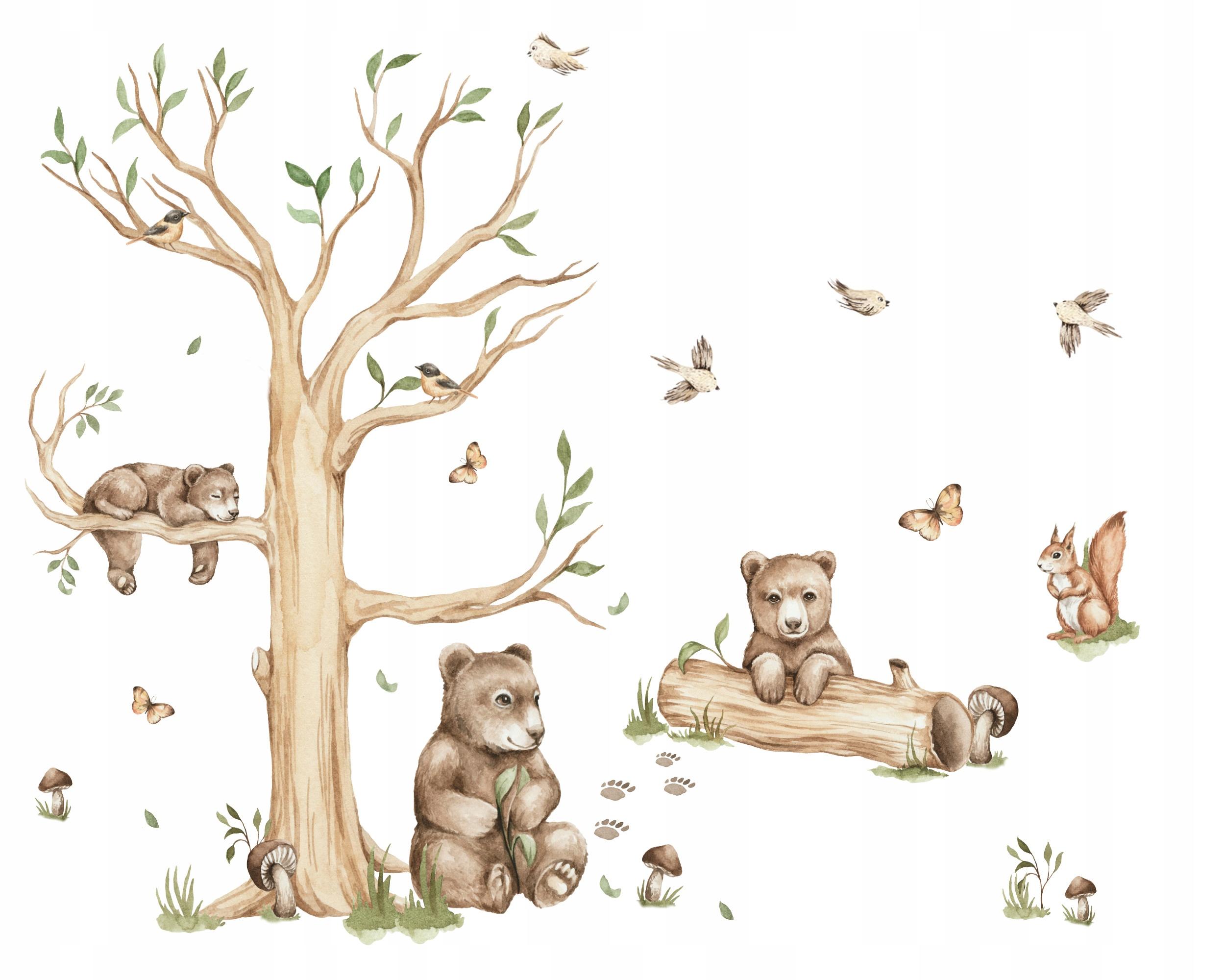 Leśne naklejki na ścianę MISIOWA RODZINKA XL
