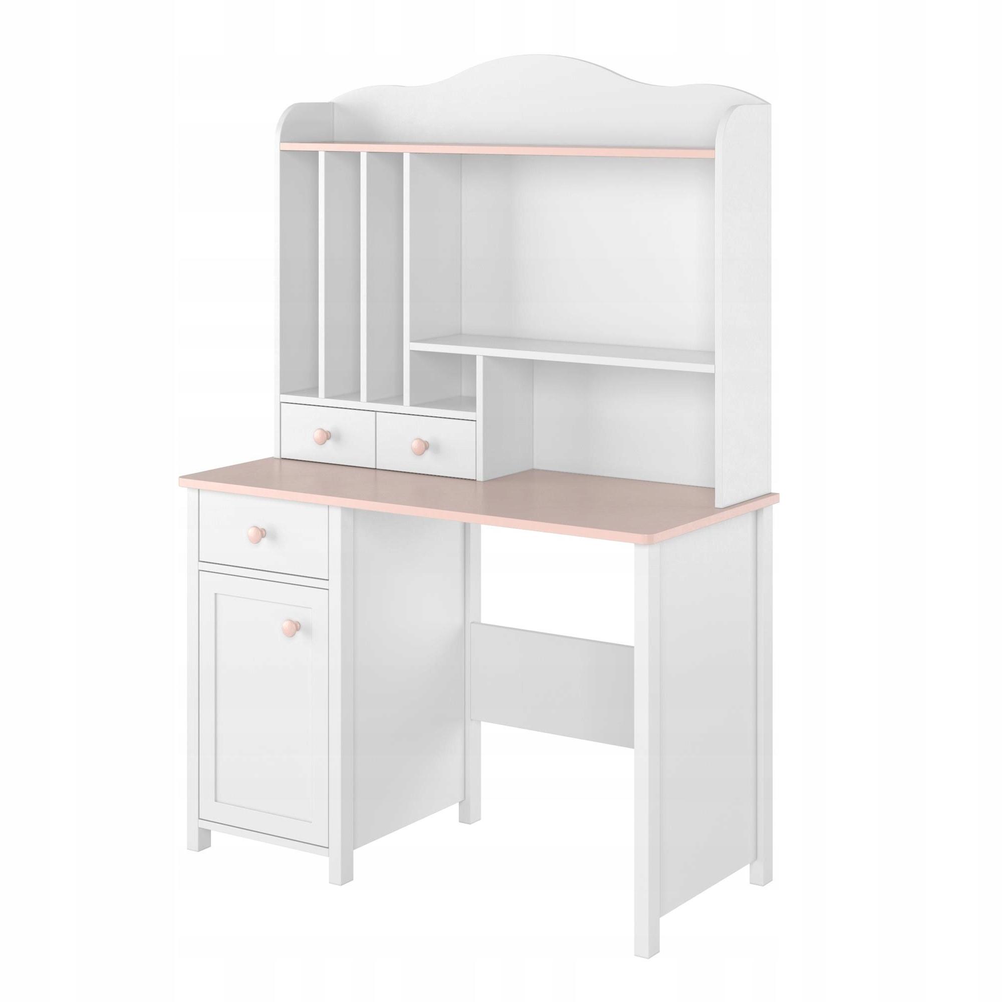 Письменный стол + надставка LUNA LN-03 + LN-04 белый / розовый