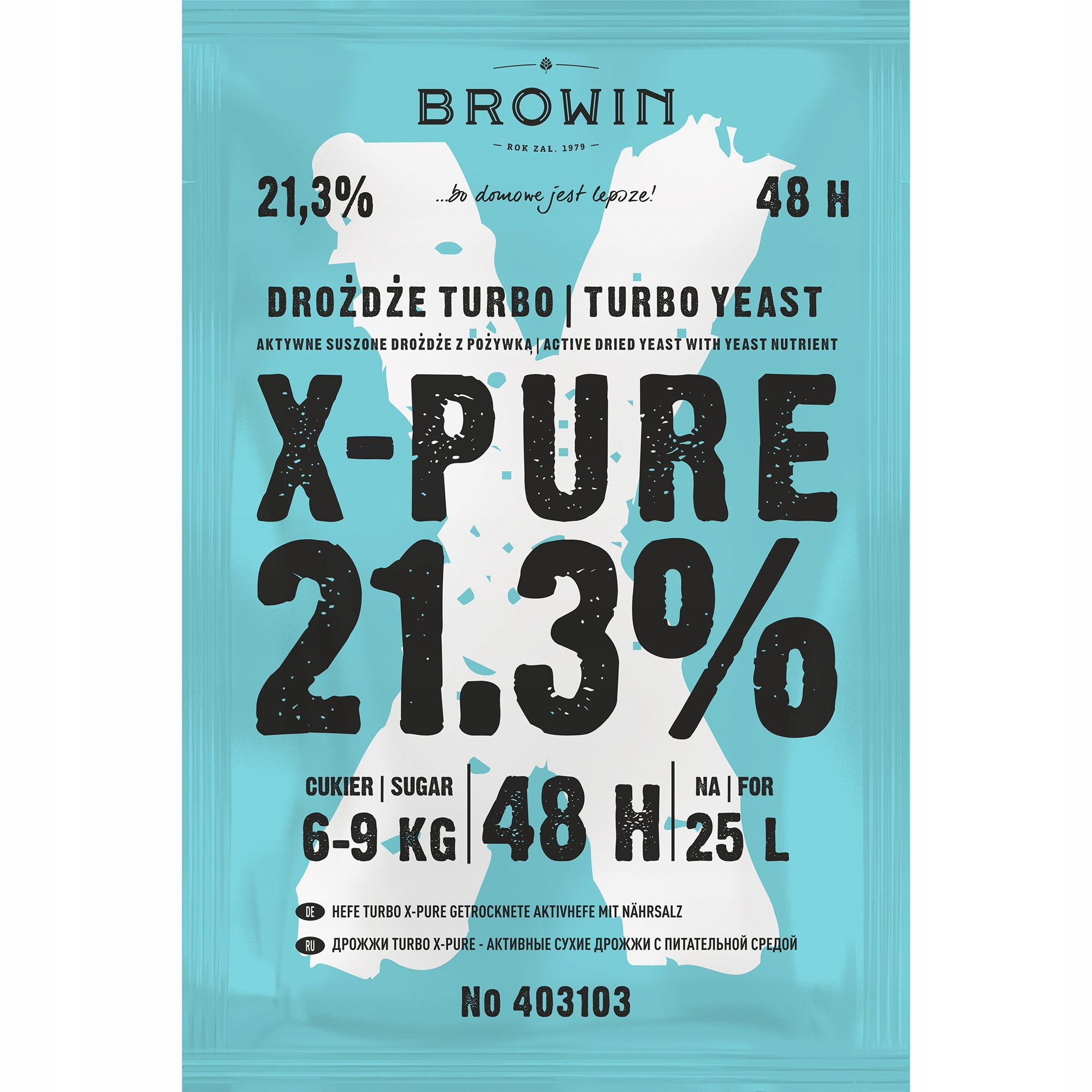 X-PURE 48 TURBO PURE спиртовые дрожжи 21,3% 9 кг