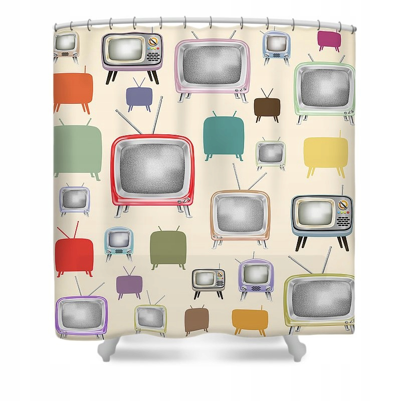 Retro TV sprchový záves