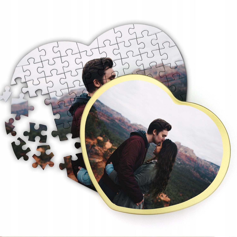 Foto-puzzle v plechovke s vašou fotografiou pre Valentína