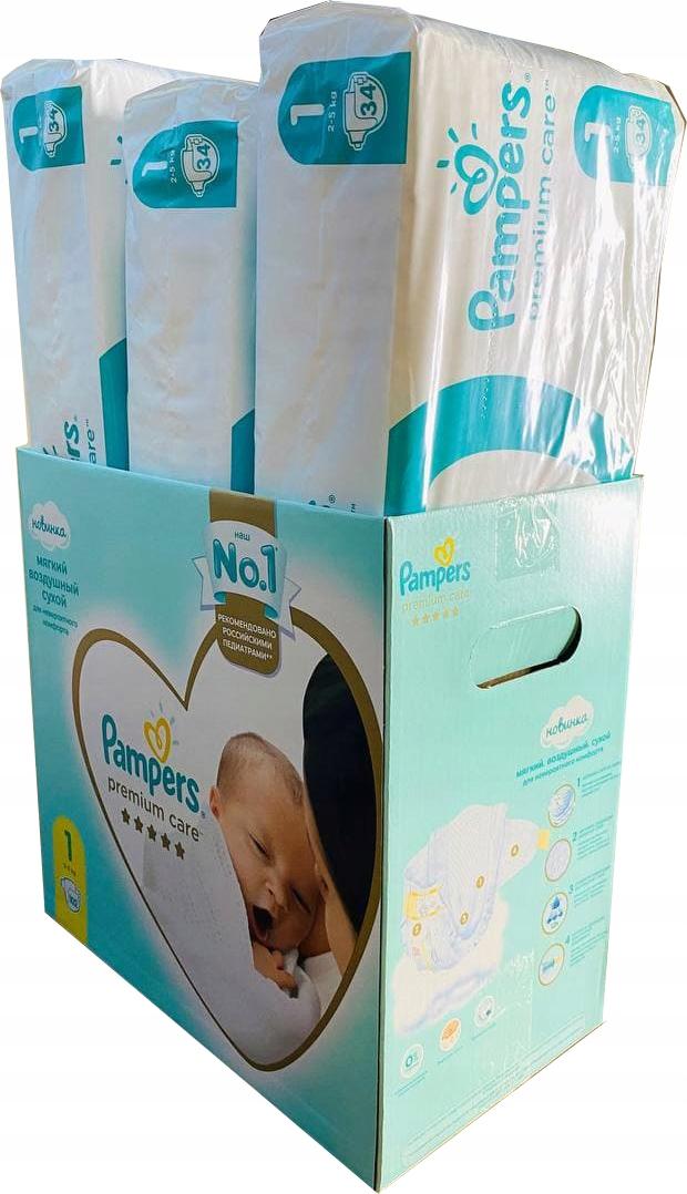 Pampers Premium Care размер 1 (2,5 кг) 102 шт. Для новорожденных