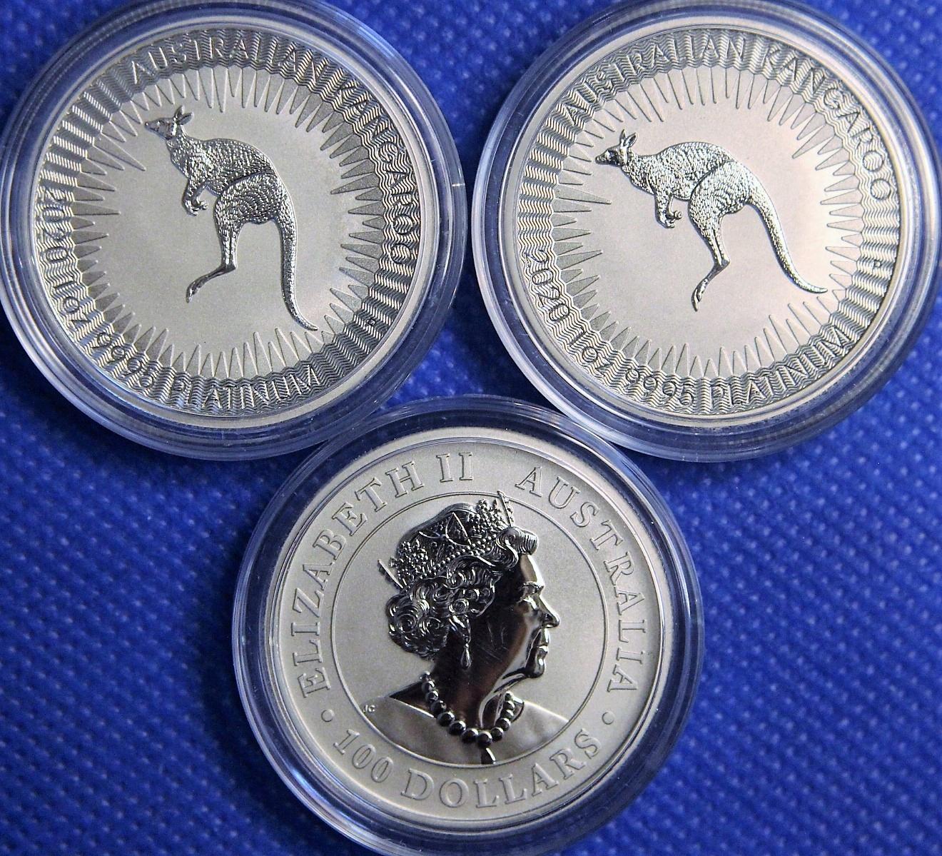100 dolárov 2020 Kangaroo - 1 oz Platinum / Platinum