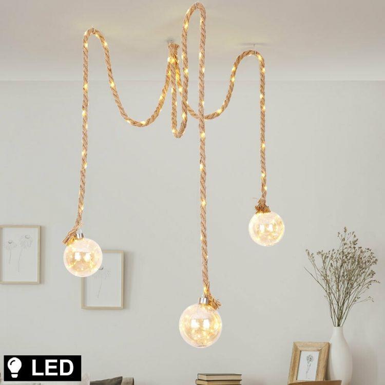 Amber Led retro podkrovná strunová lampa