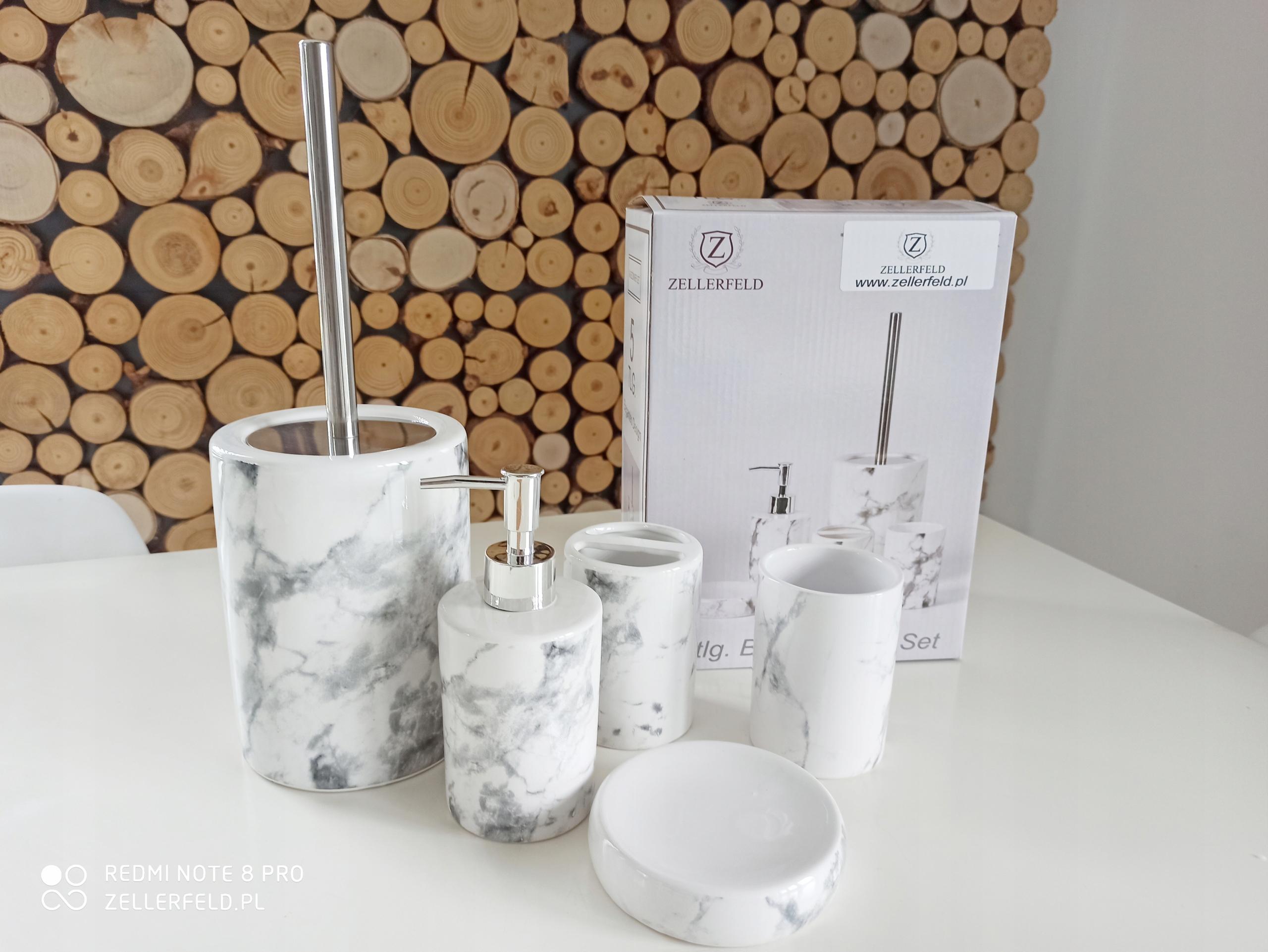 Kúpeľňové doplnky sivobiely mramor 5 Tlg