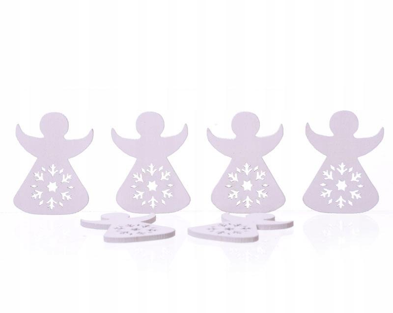 Aniołki drewniane 6szt białe Boże Narodzenie