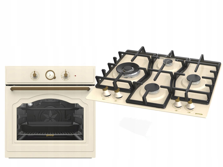 Sada retro rúry na pečenie Gorenje + plynová varná doska IVORY