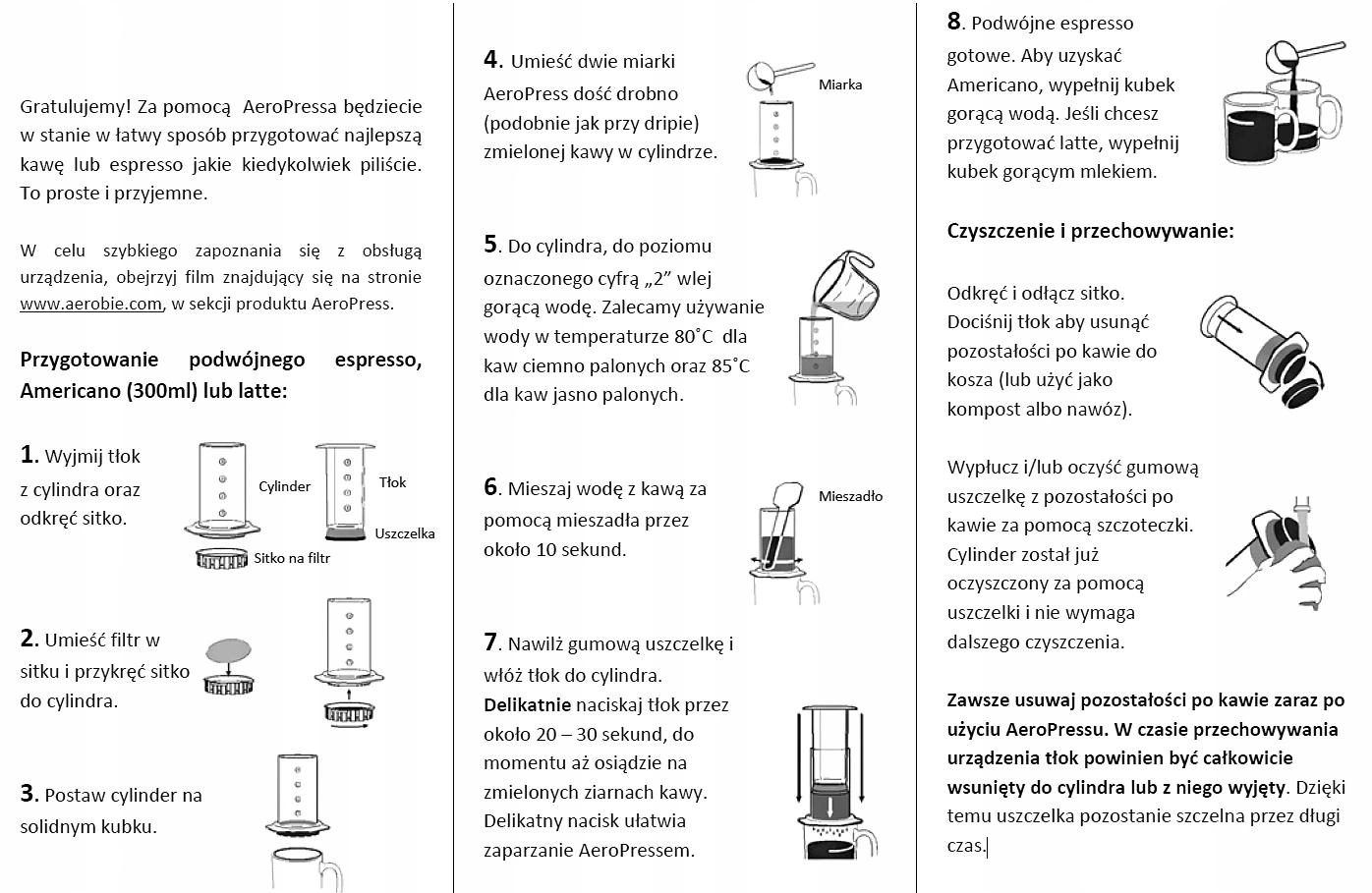 Aeropress AEROBIE - zaparzacz do kawy z filtrami Typ klasyczna