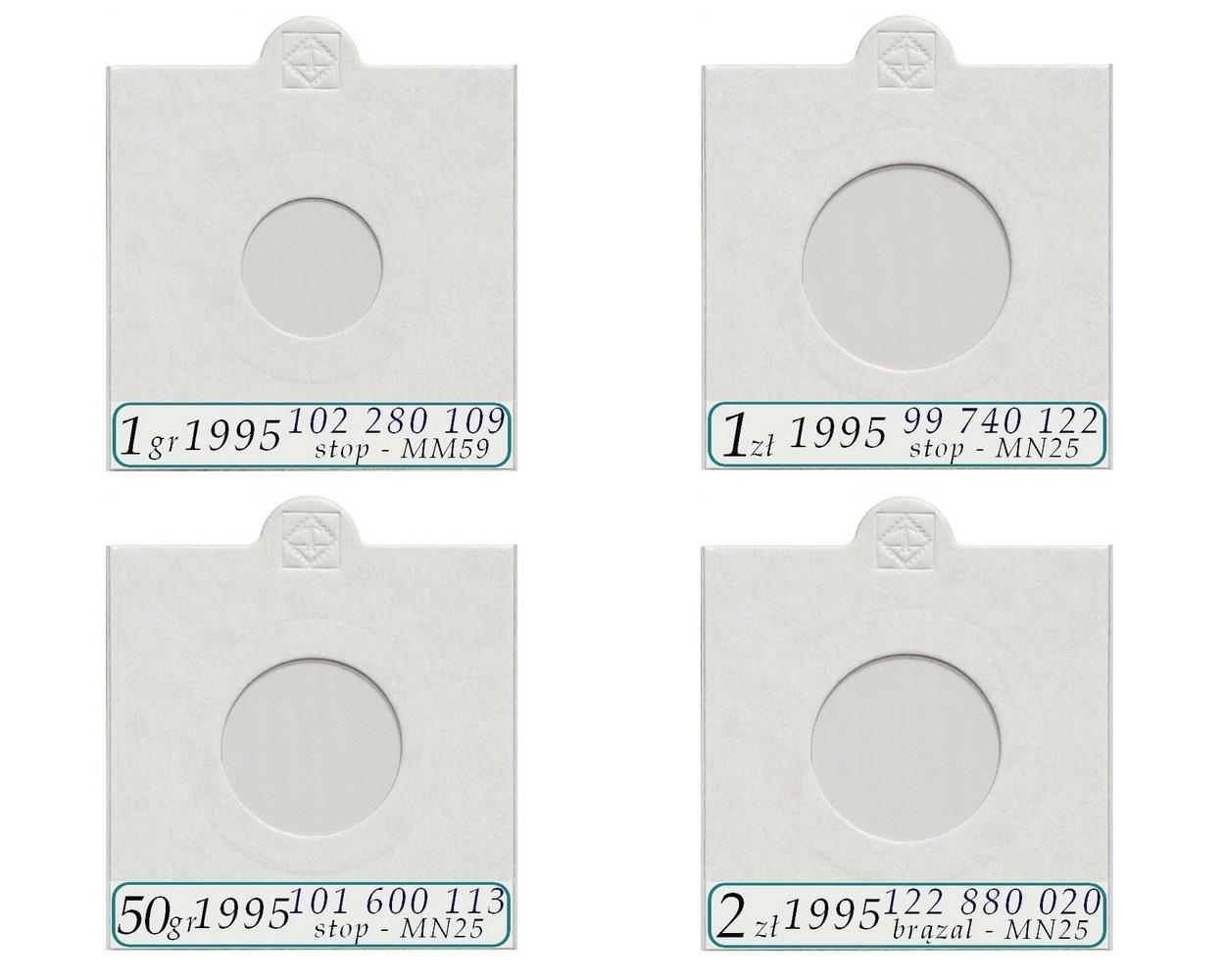 Komplet 4 holderów na monety obiegowe 1995 + opisy