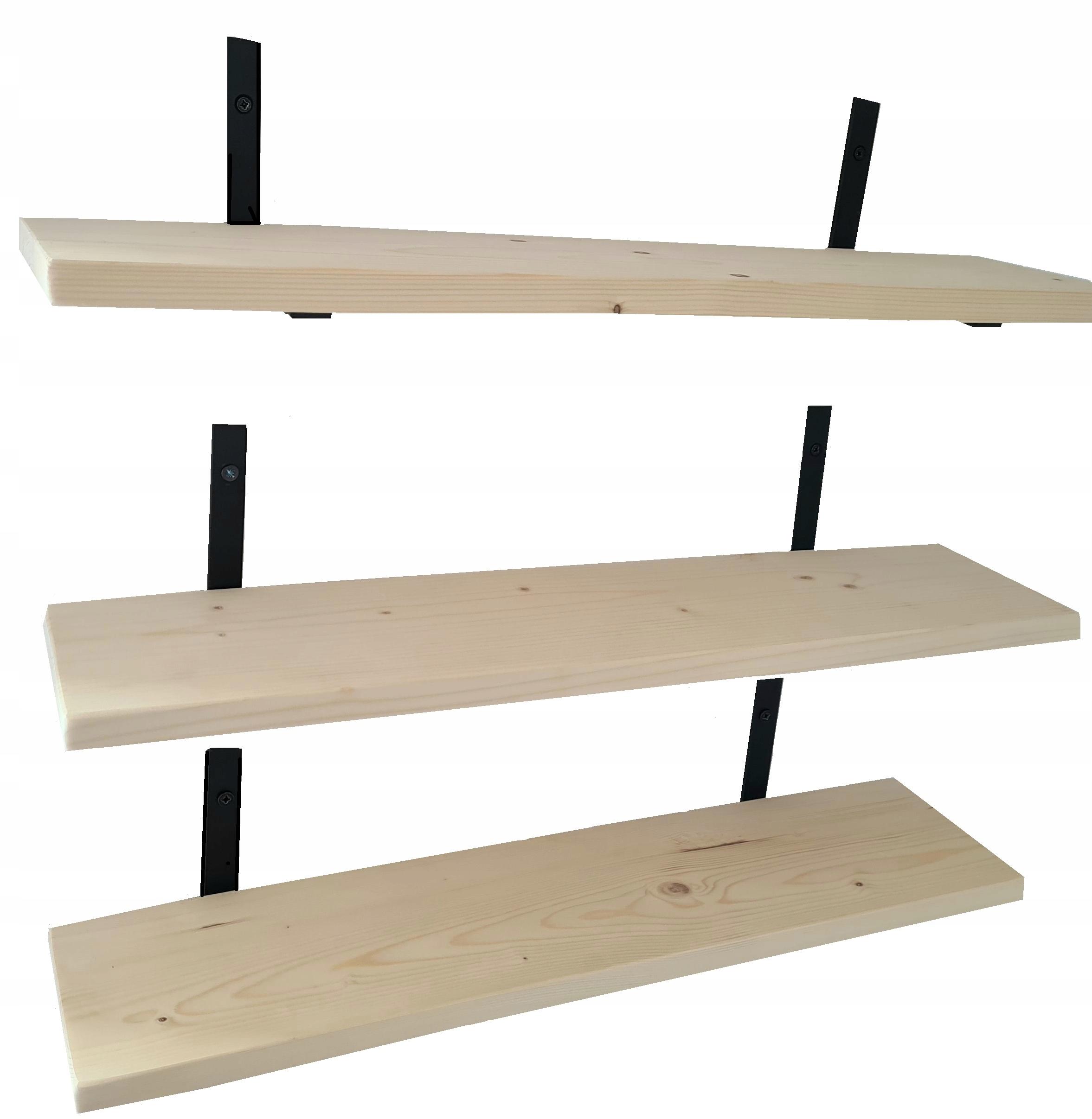 Półka ścienna Drewniana Lite drewno 3 szt 60cm