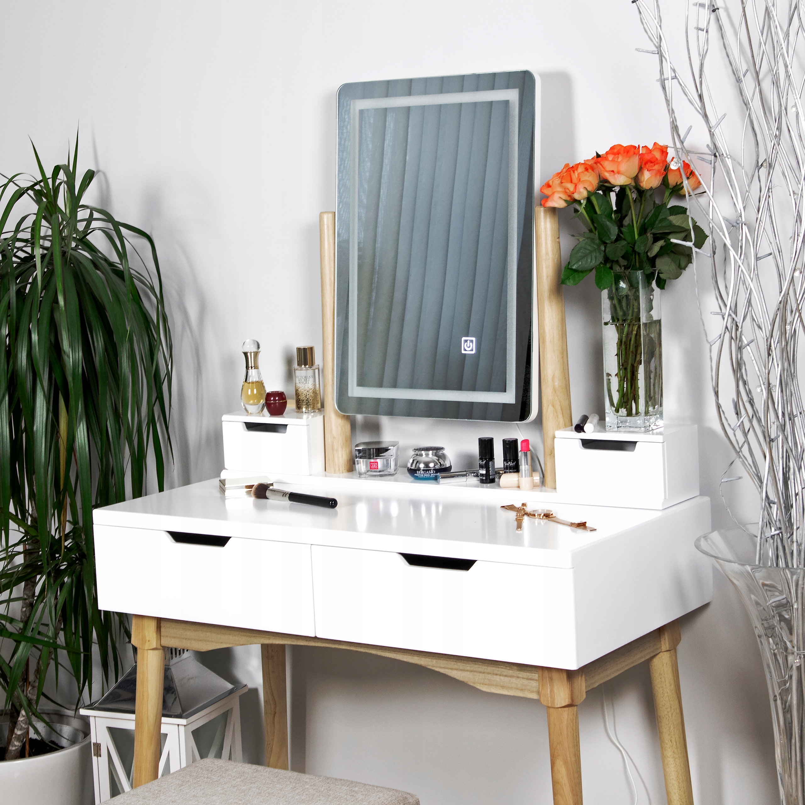 TOALETKA kosmetyczna z LUSTREM i TABORETEM +LED 4w Kolor mebla biały