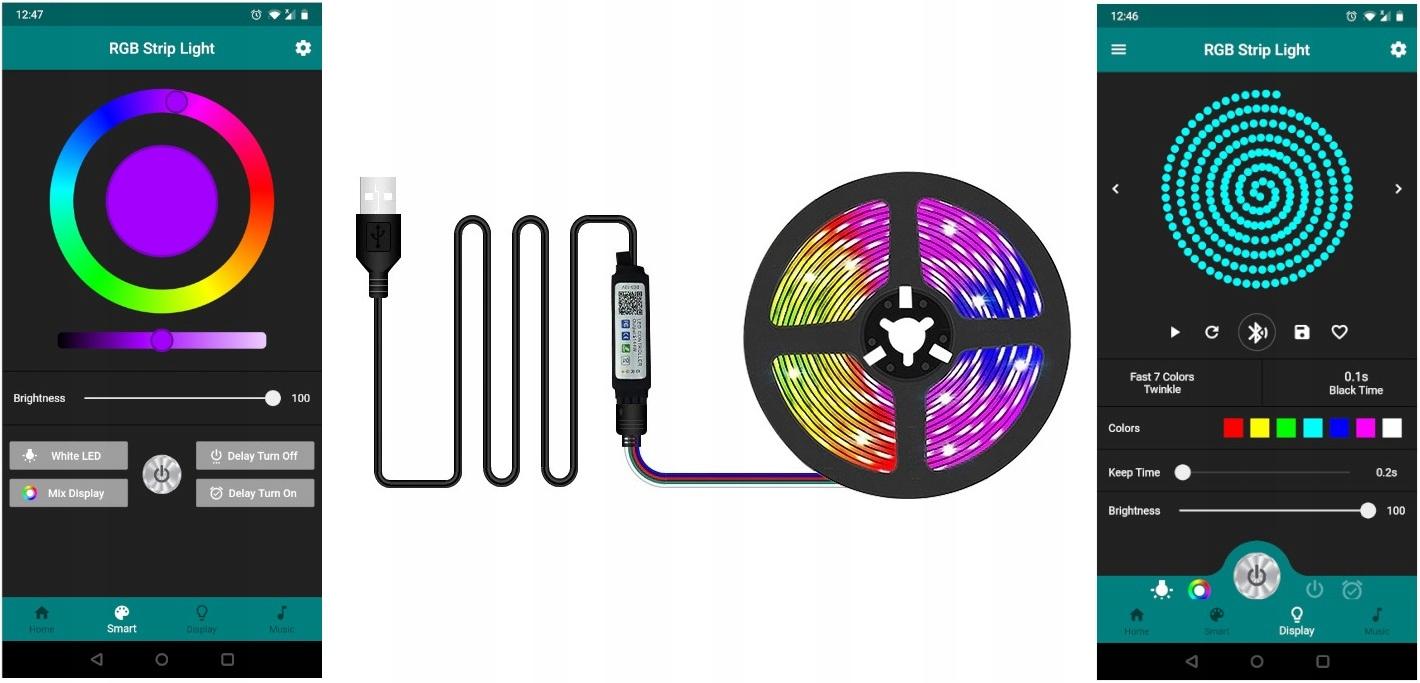 LED STRIP 5050 RGB TV USB BLUETOOTH APP Strøm 5 W