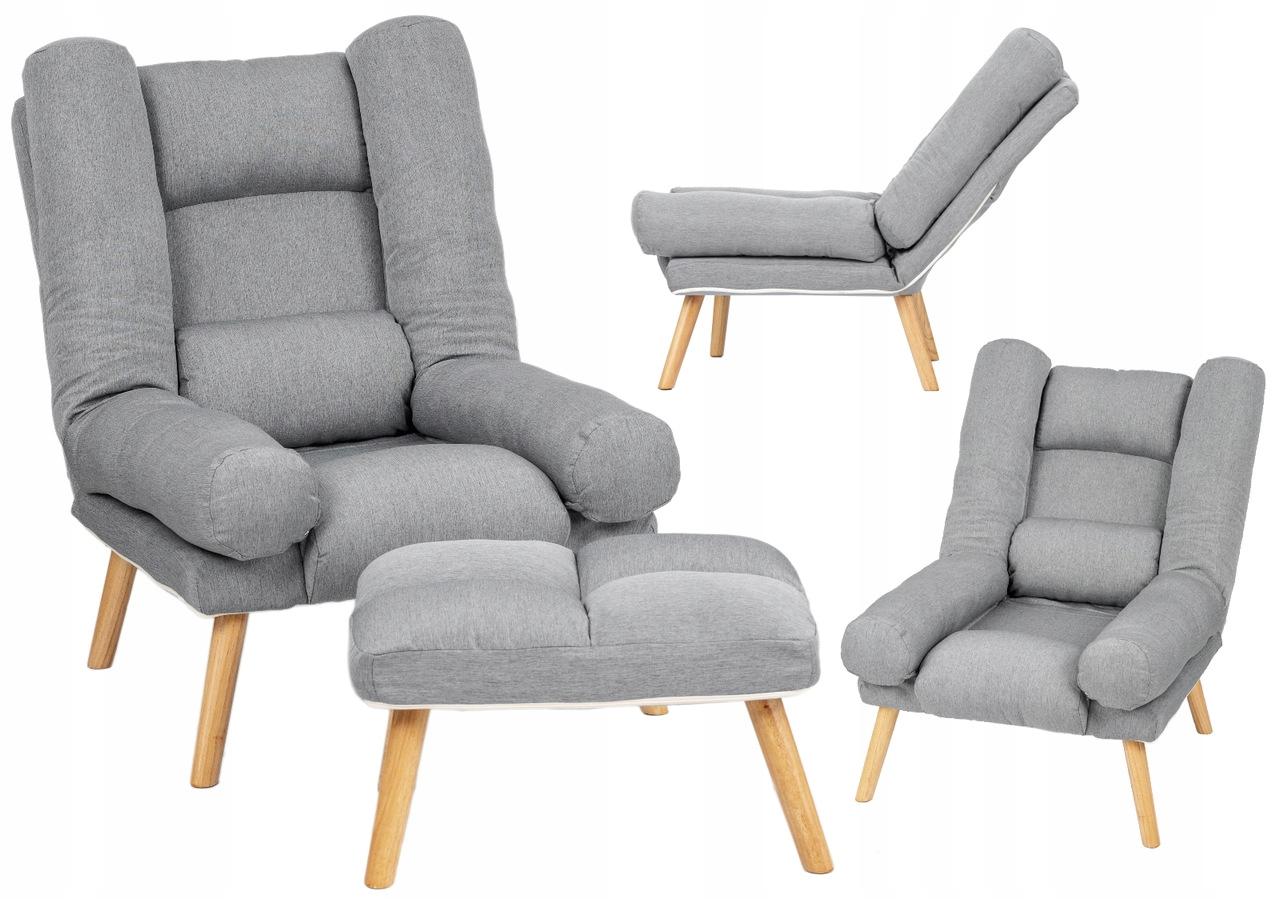 Fotel USZAK styl skandynawski SZARY z podnóżkiem