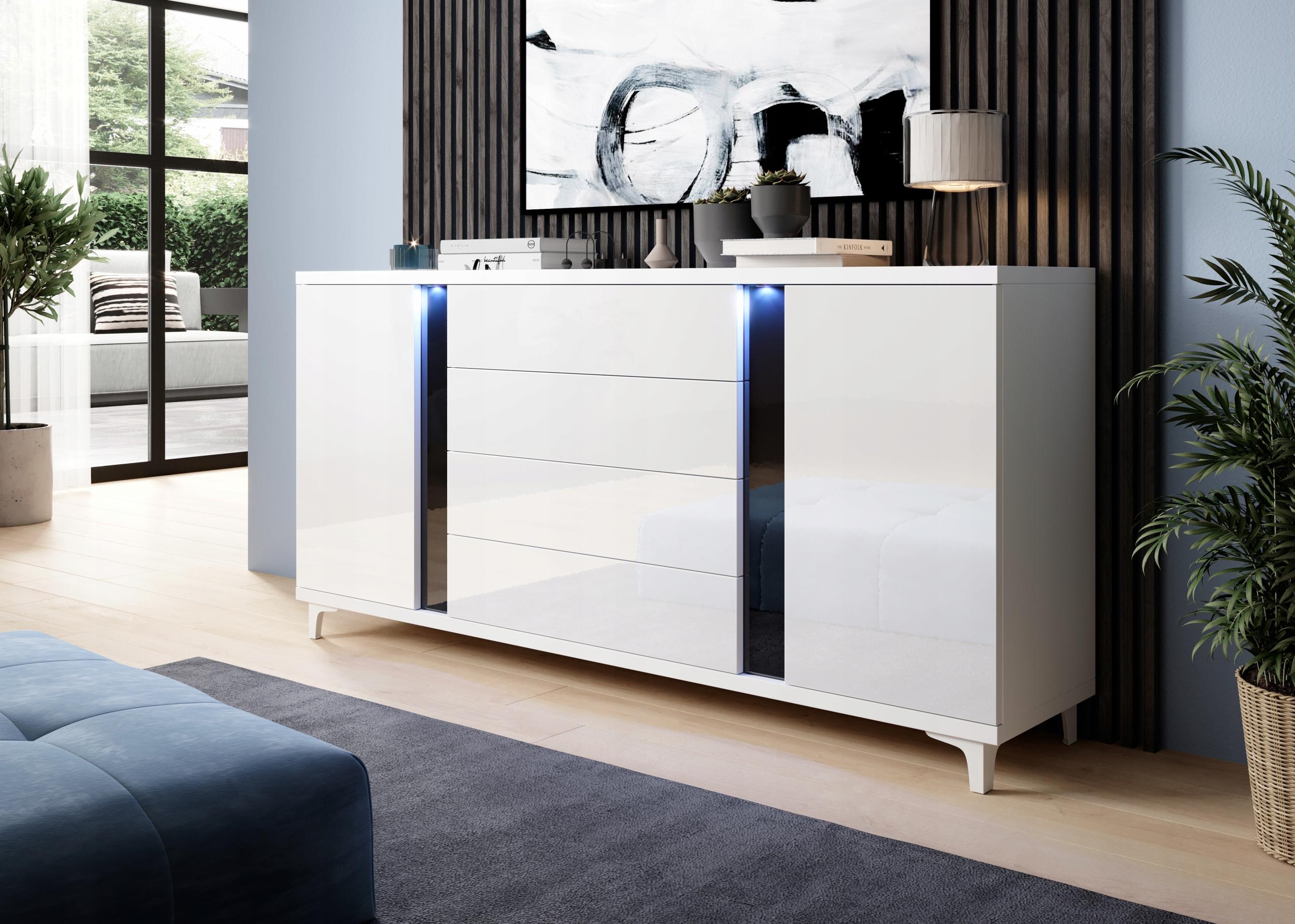 Большой комод MOGAN 180 см - High Gloss со светодиодной подсветкой