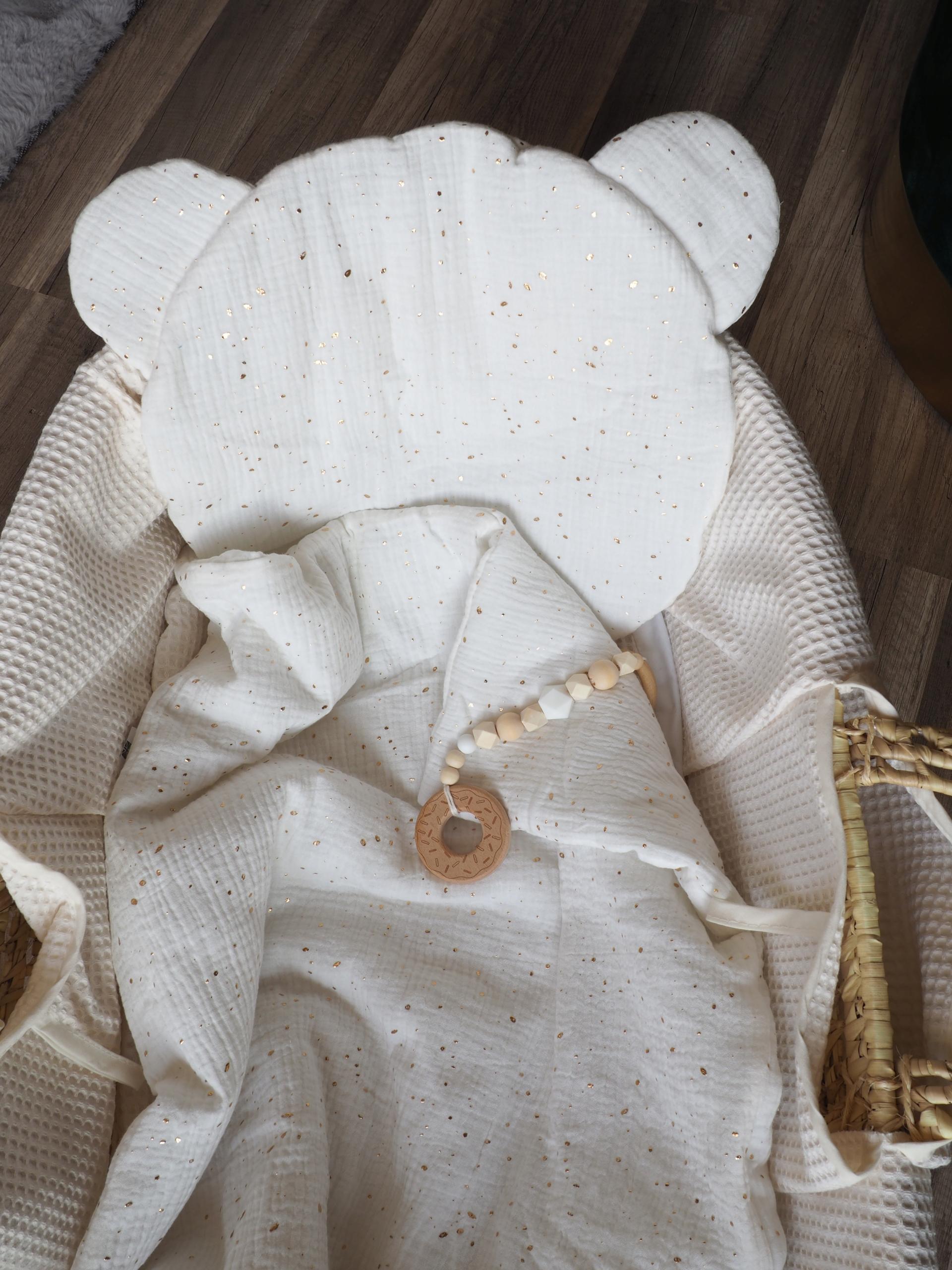 Zestaw niemowlęcy otulacz muślinowy poduszka MIŚ Bohater brak