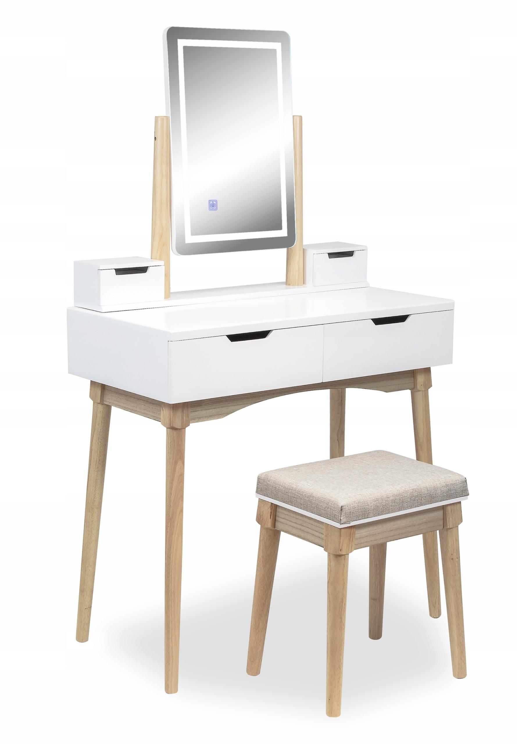 TOALETKA kosmetyczna z LUSTREM i TABORETEM +LED 4w Informacje dodatkowe podświetlenie stołek w zestawie