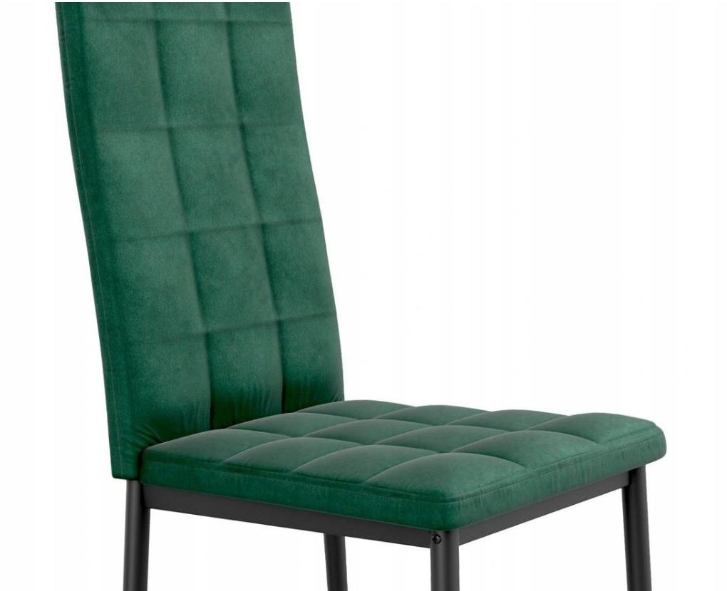 Krzesło Tapicerowane Pikowane Ciemny Zielony Welur Rodzaj nóg Profilowane