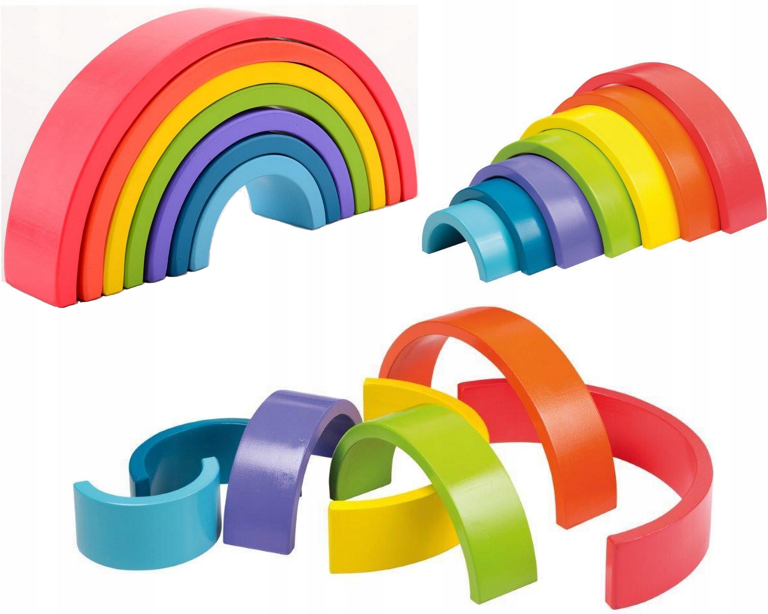 Drevená dúha Montessori bloky Puzzle Joueco