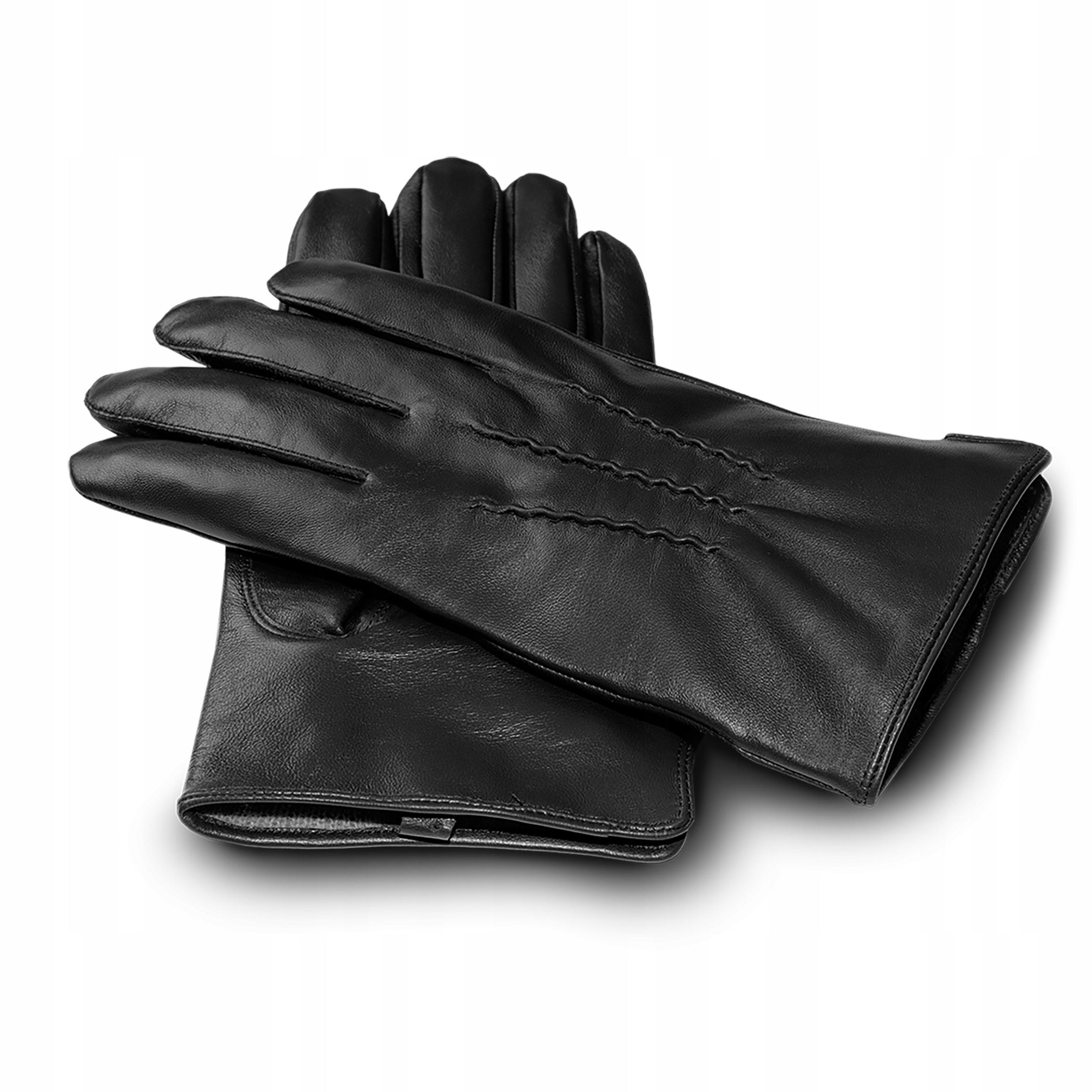 Rękawiczki skórzane męskie dotykowe zimowe czarne