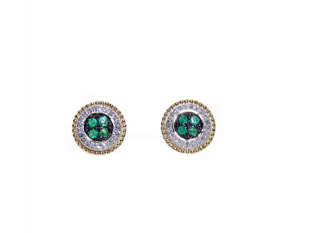 Náušnice zlato a diamanty, smaragdy Verona