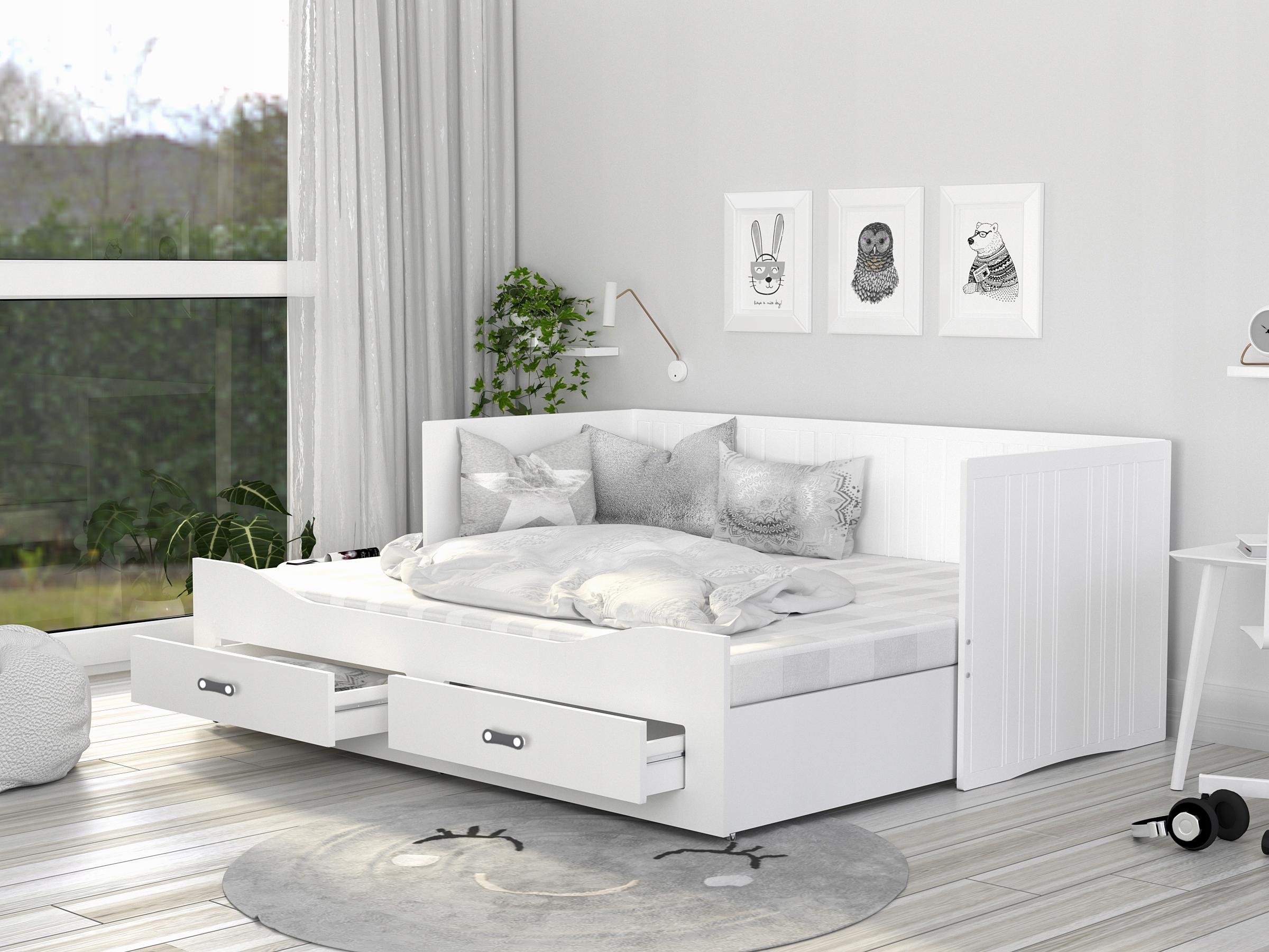 Łóżko rozkładane HERMES materace szuflady białe Głębokość mebla 86 cm